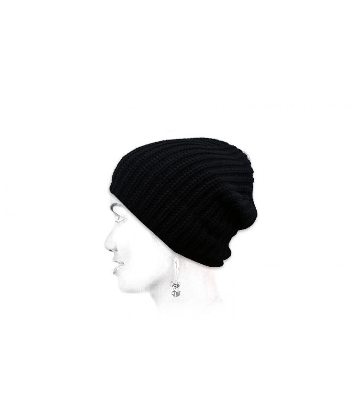 recycelte schwarze Mütze