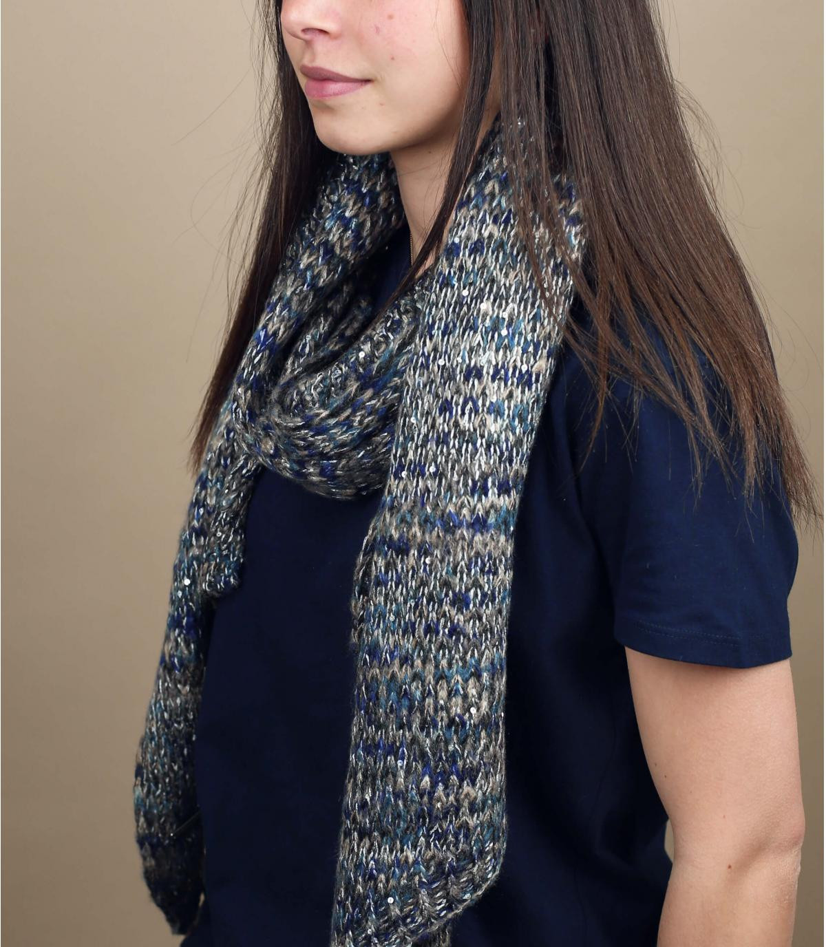 Schal blau grau Motiv