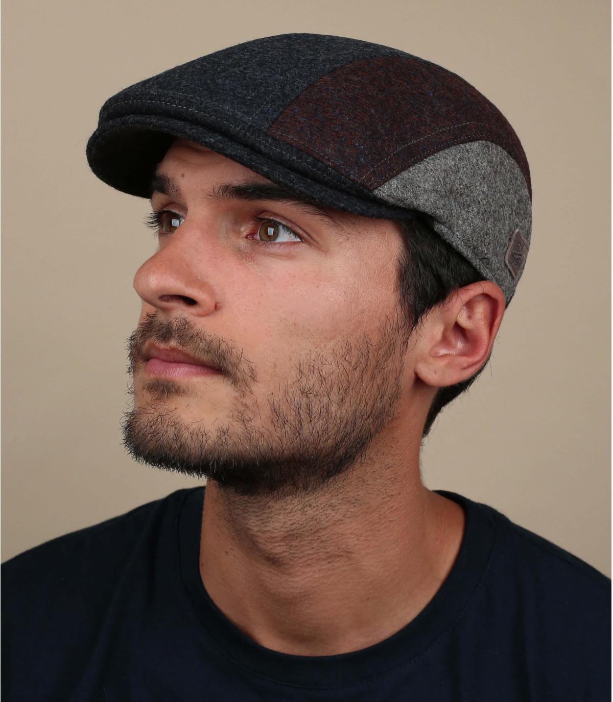 Schiebermütze Wolle blau Ohrenklappen