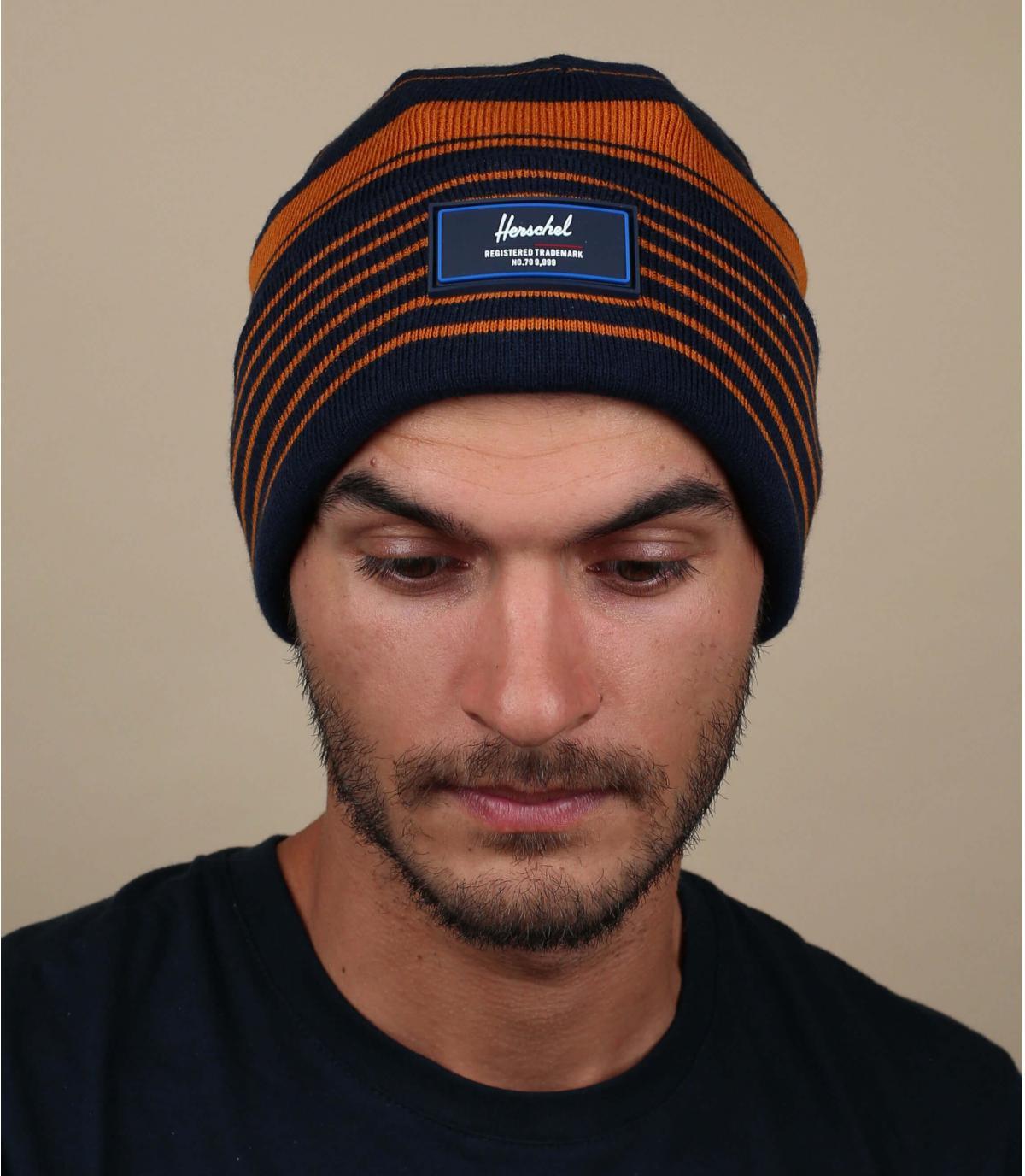 Cuff Mütze blau Streifen