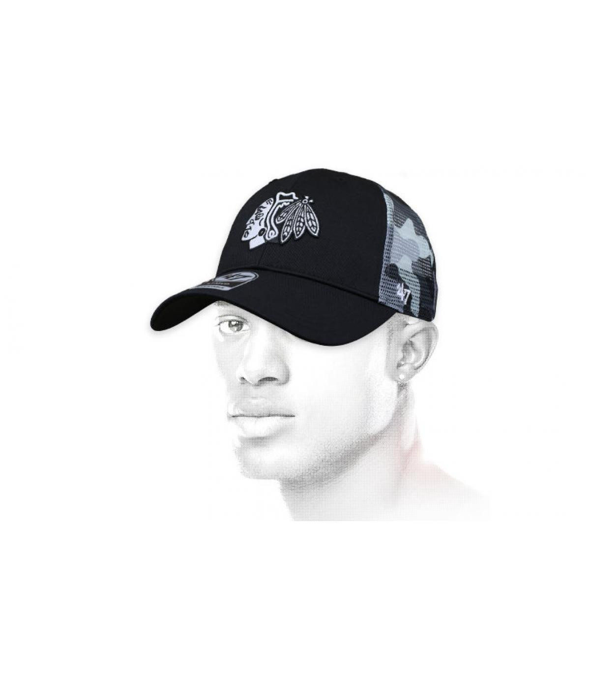 Cap Blackhawks schwarz camo