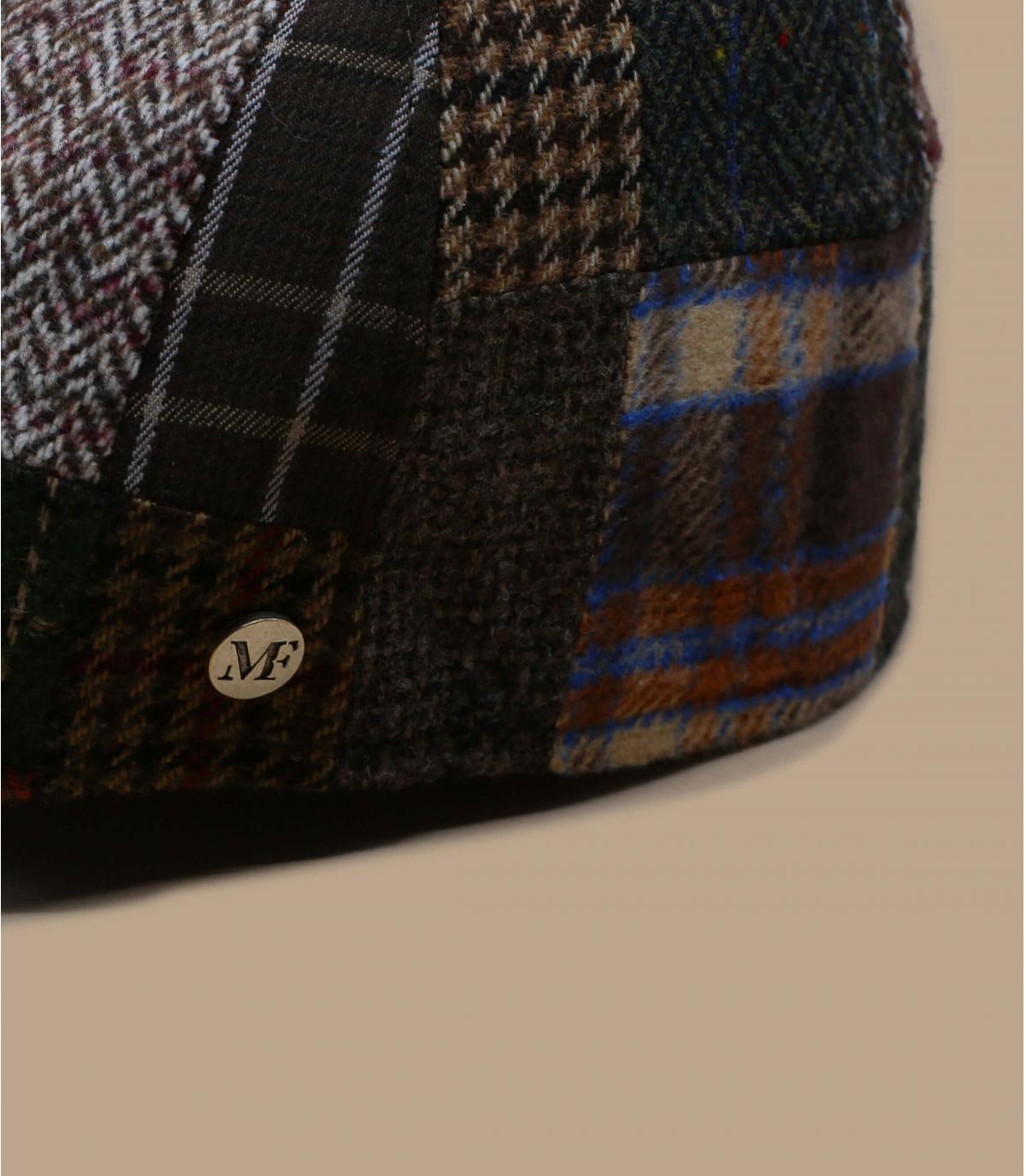 Schiebermütze patchwork braun Wolle