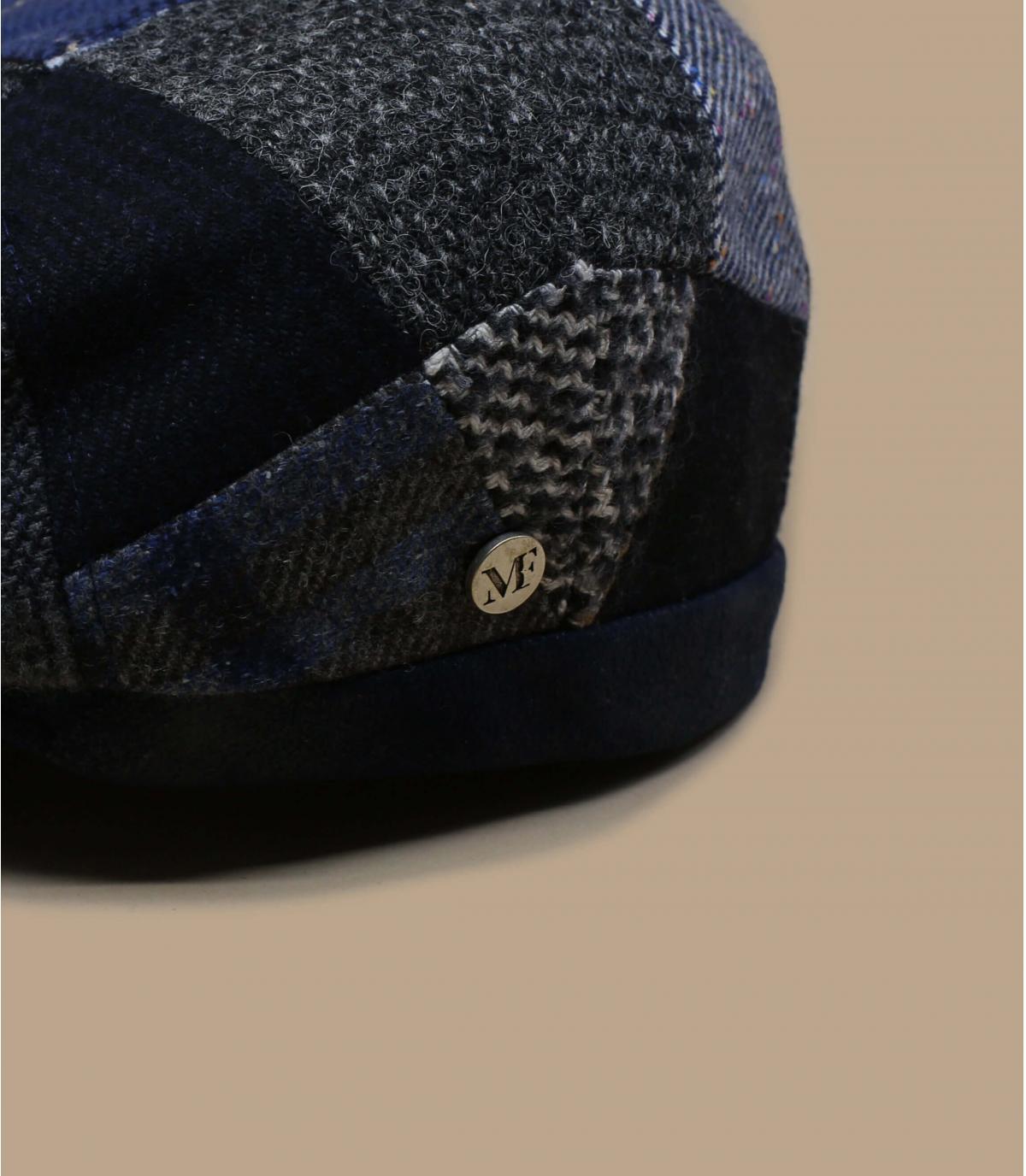 Schiebermütze grau blau Wolle