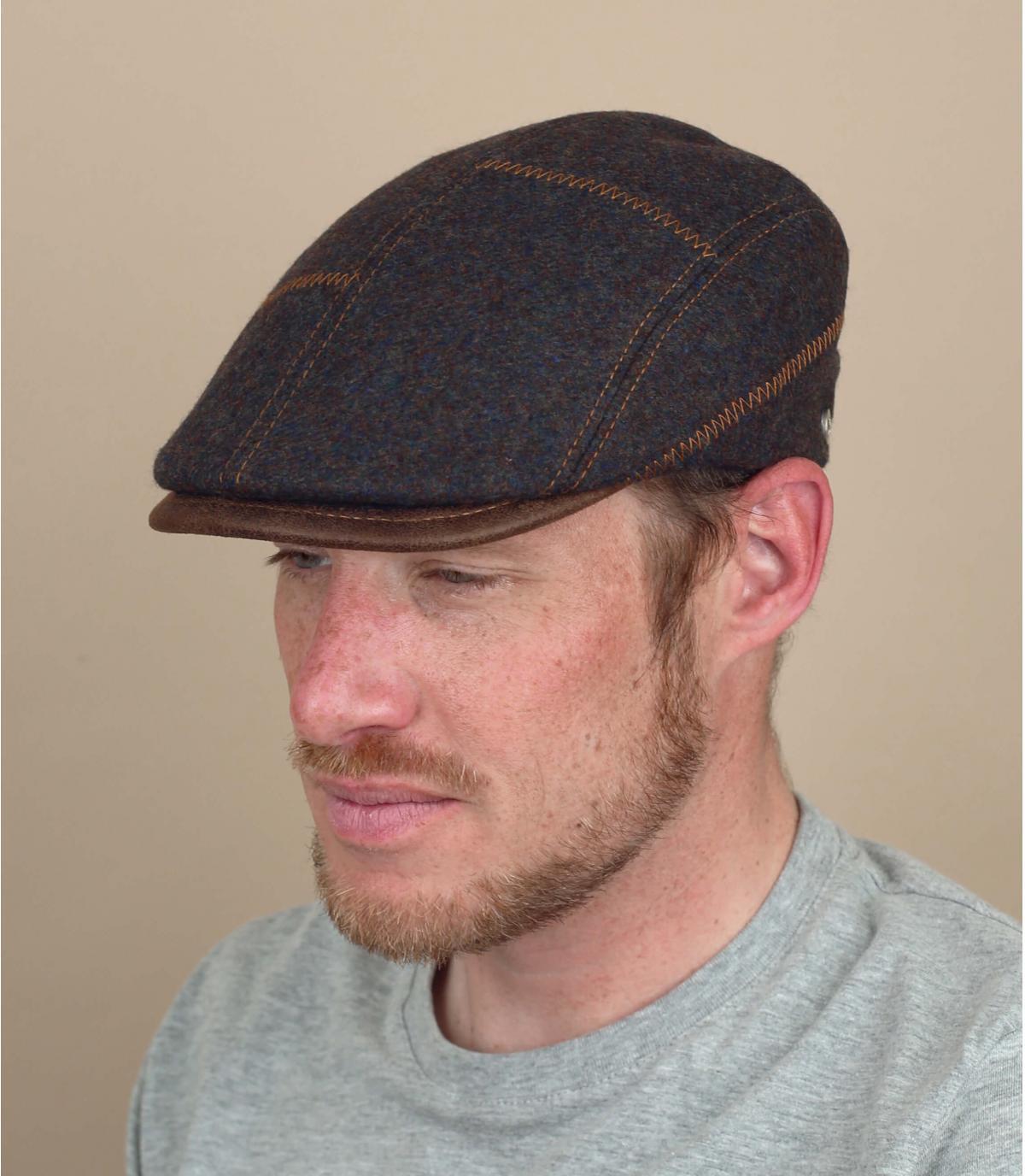 Flatcap braun Wolle