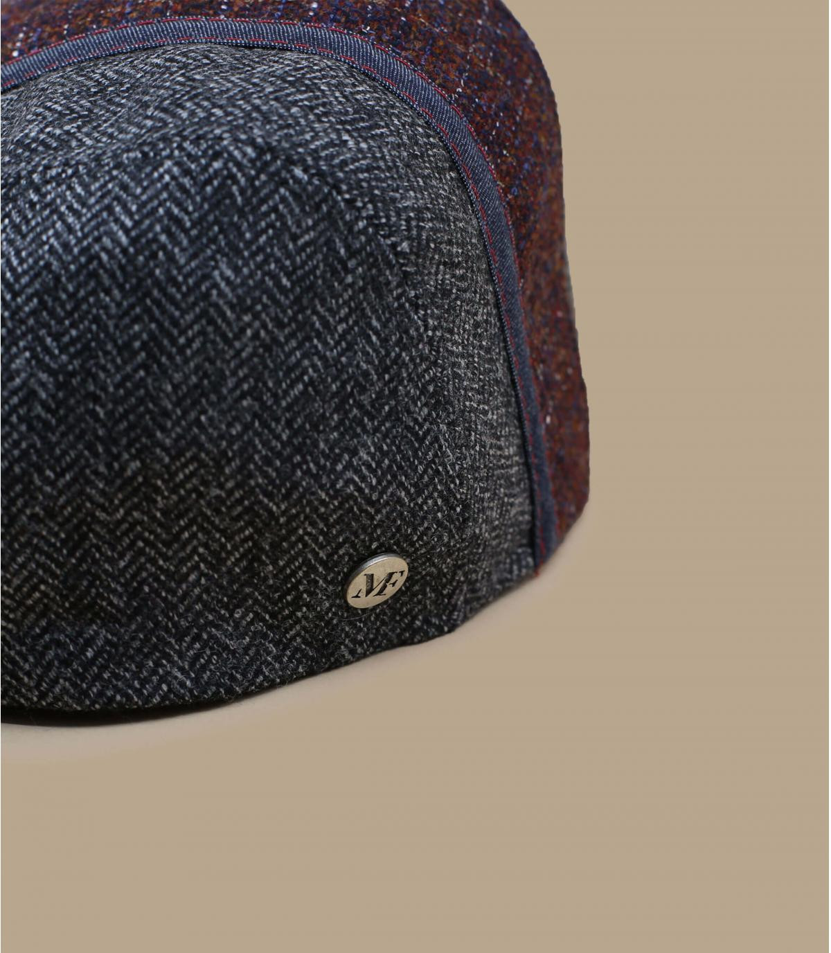 Flatcap zweifarbig grau bordeaux