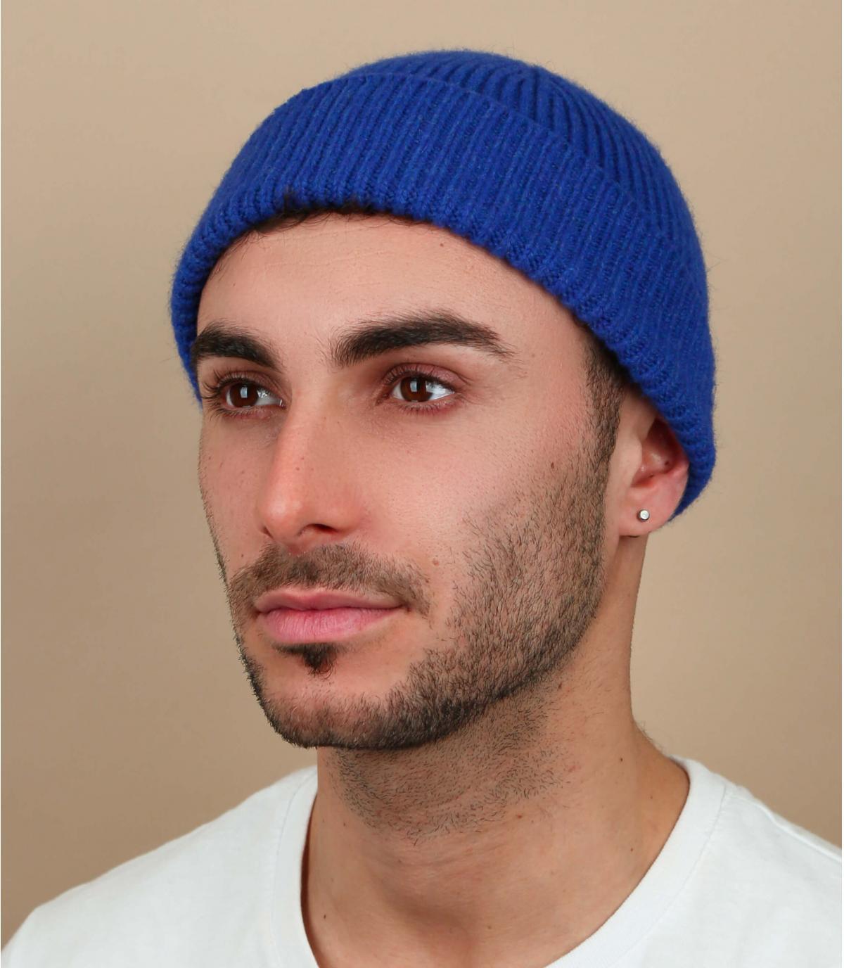 Docker Mütze blau Angorawolle