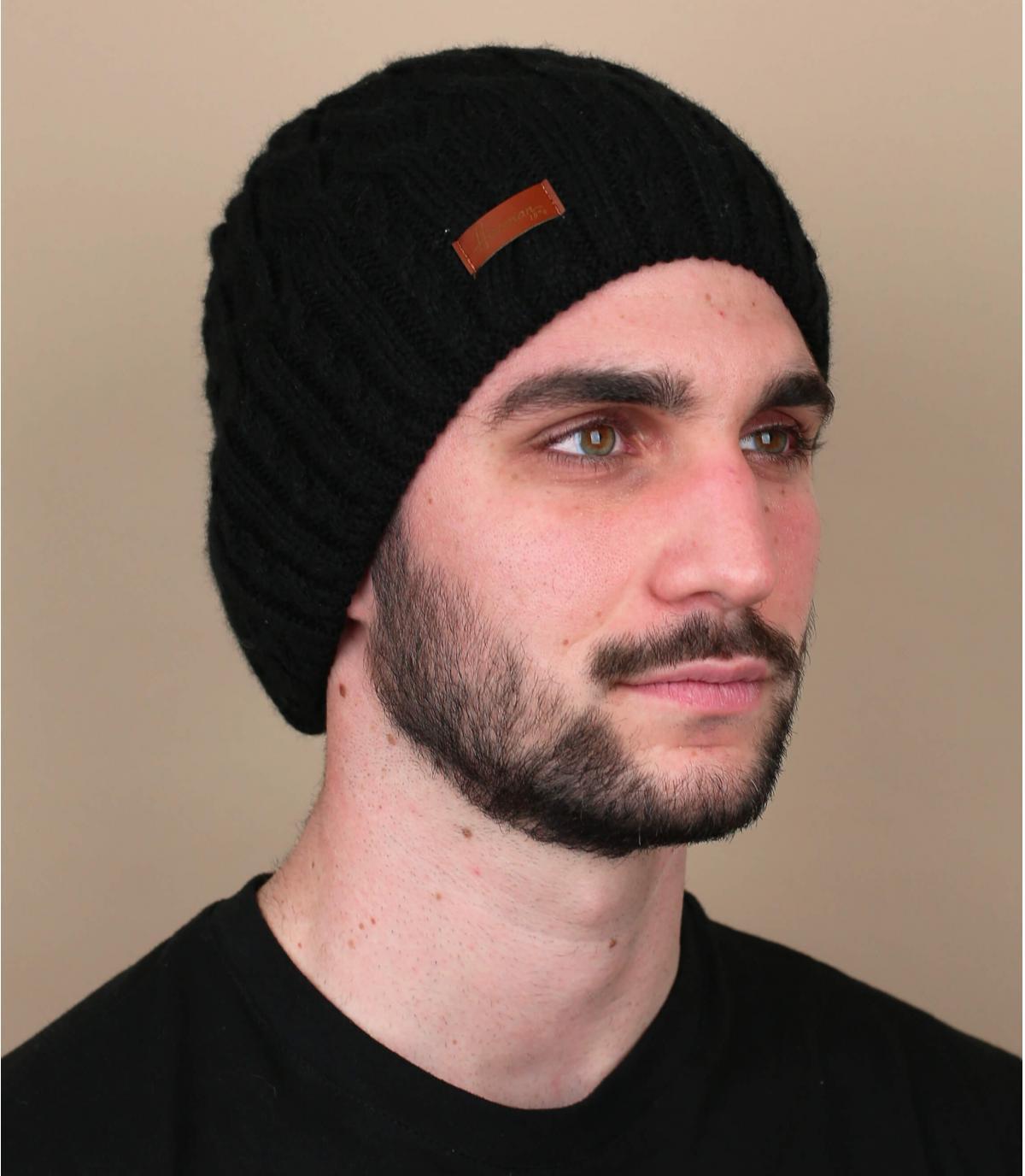 Mütze schwarz Zopfmuster