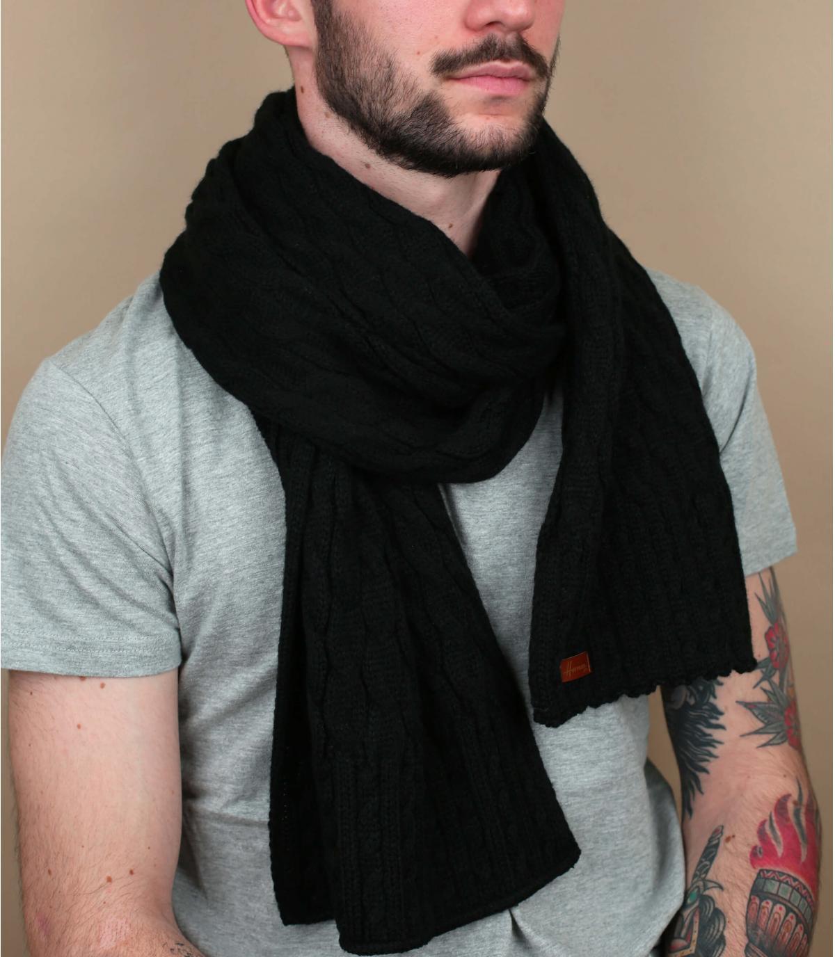 Schal schwarz Zopfmuster