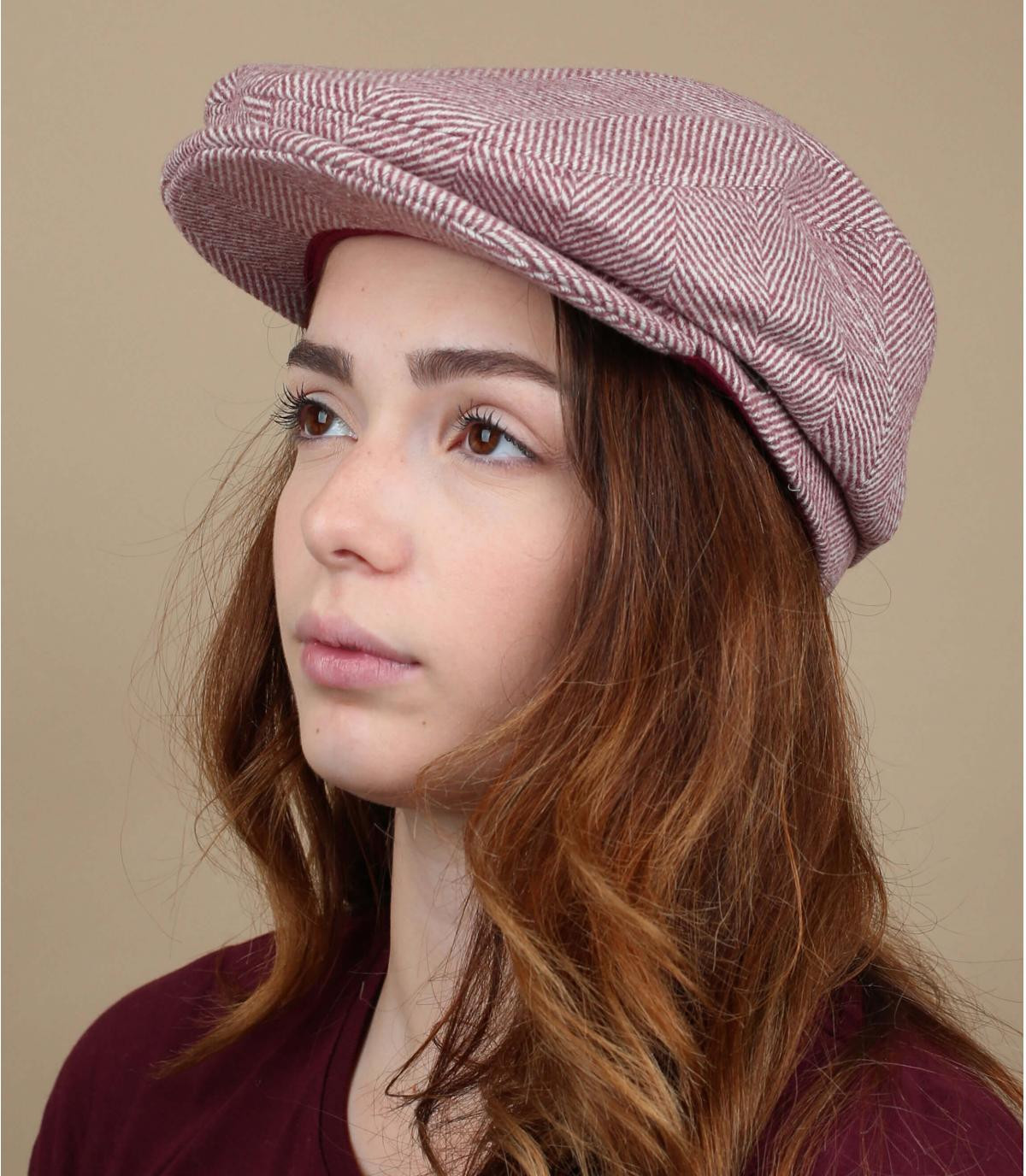 Damen Flatcap Wolle rosa