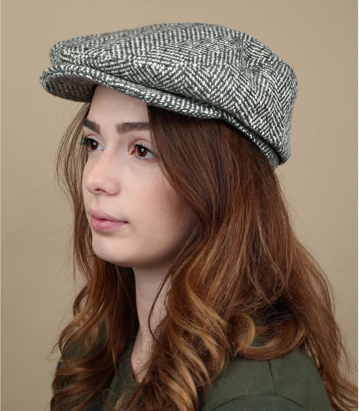 Damen Flatcap Wolle grau