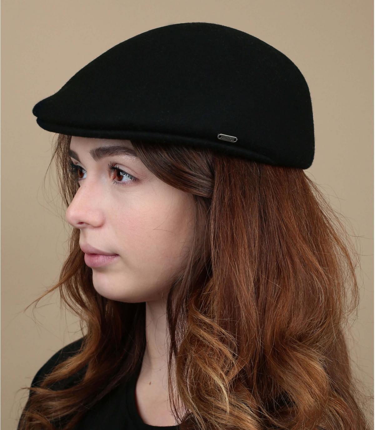 Damen Flatcap schwarz Wolle
