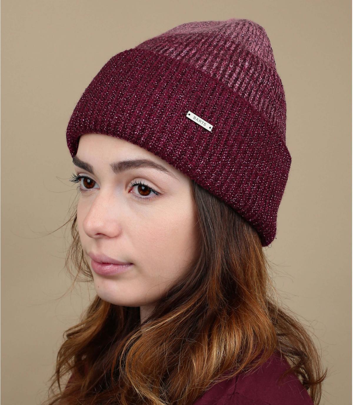 Mütze gestreift bordeauxrot