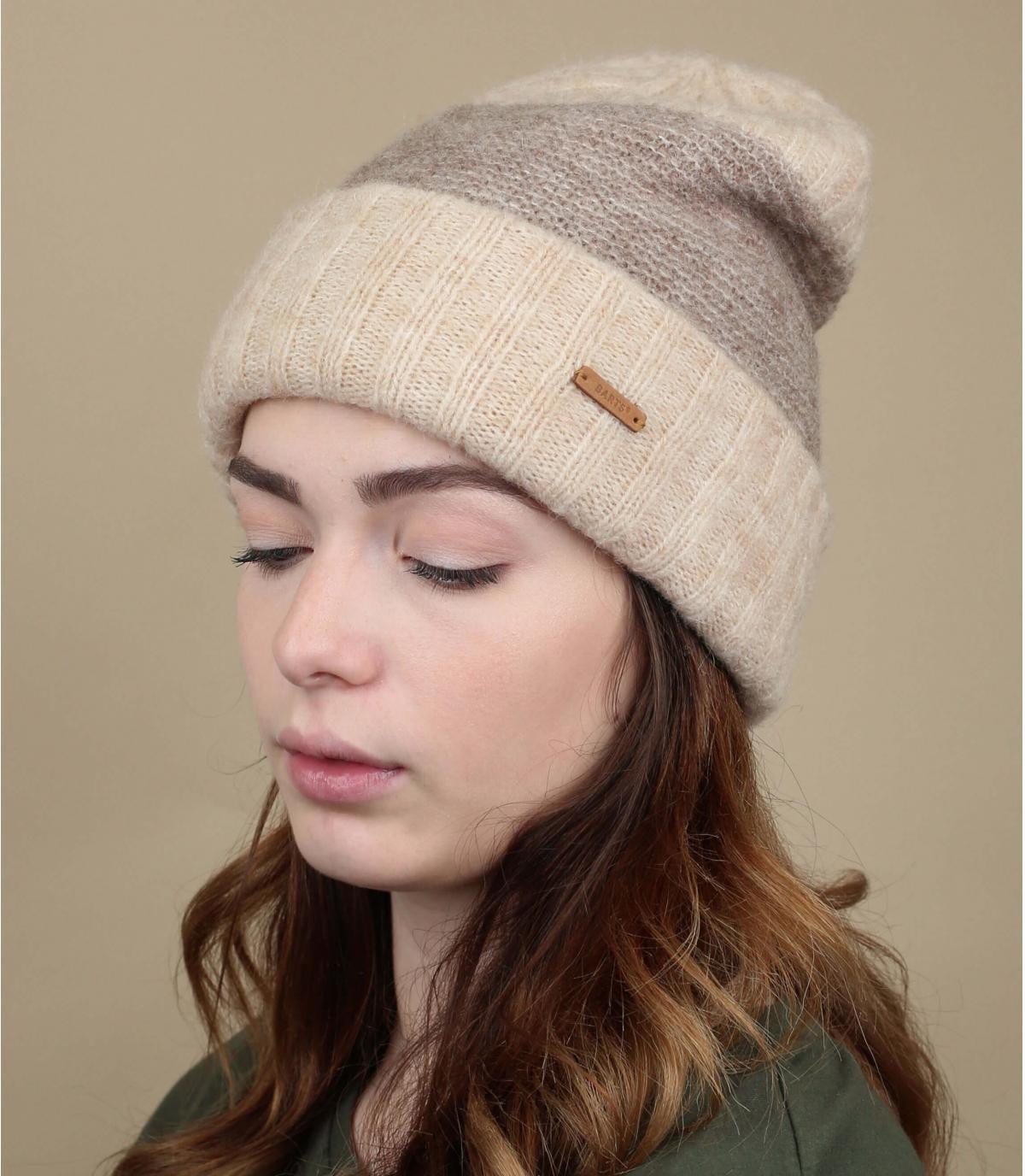 Cuff Mütze Wolle beige