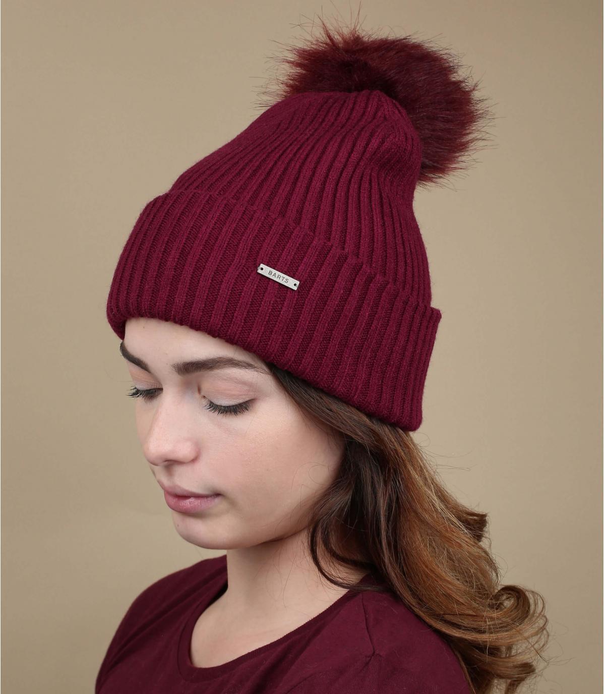 Bommel Mütze bordeauxrot