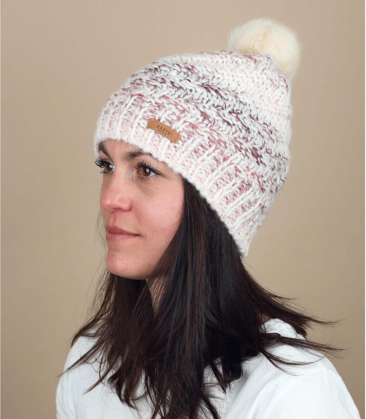 Mütze rosa Bommel weiß