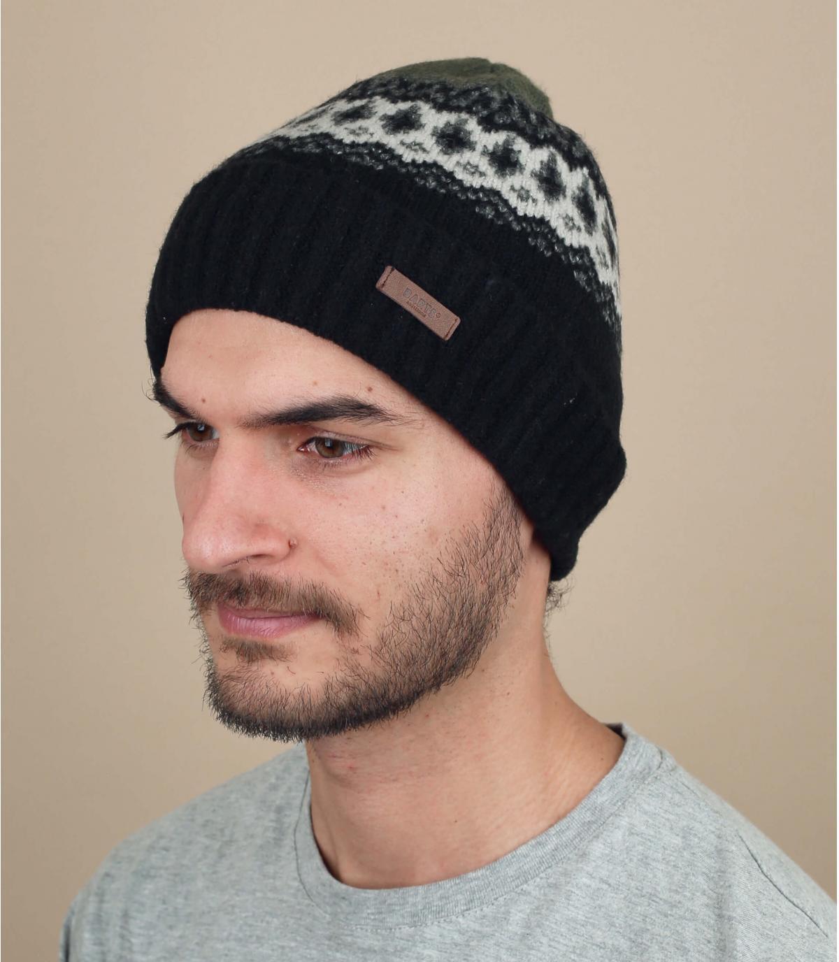 Mütze schwarz Innenfutter Motiv