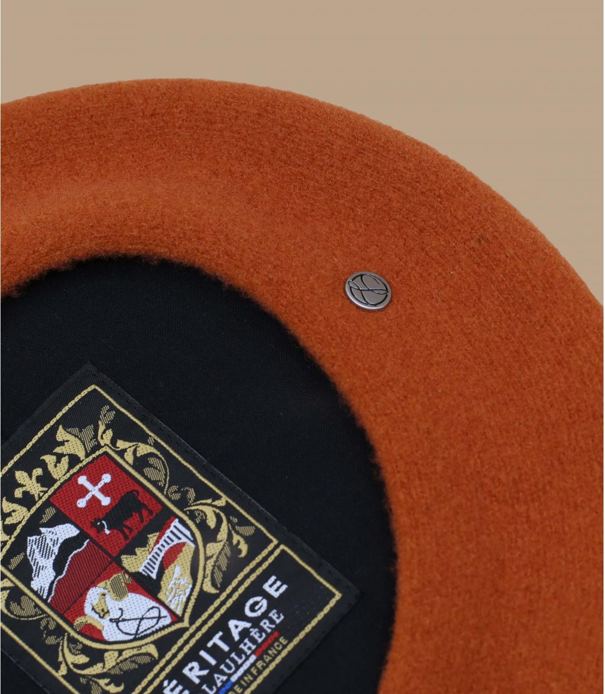 Baskenmütze Laulhère orange Merino