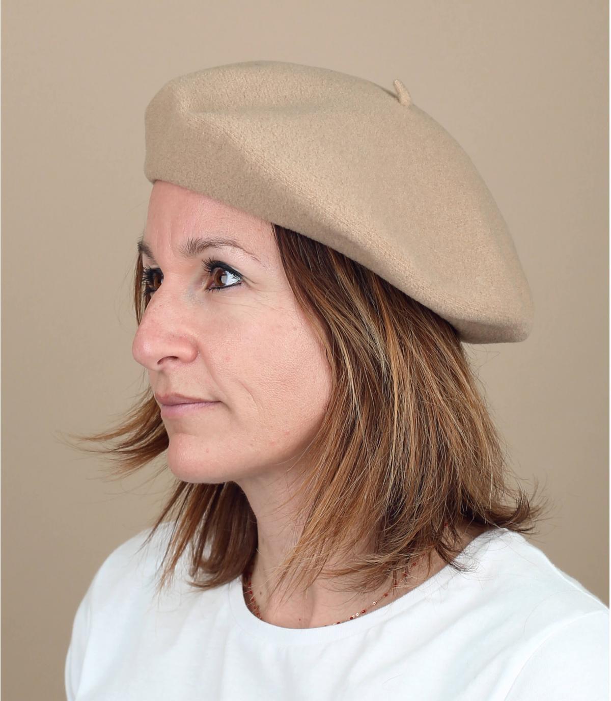 Baskenmütze beige Lederband