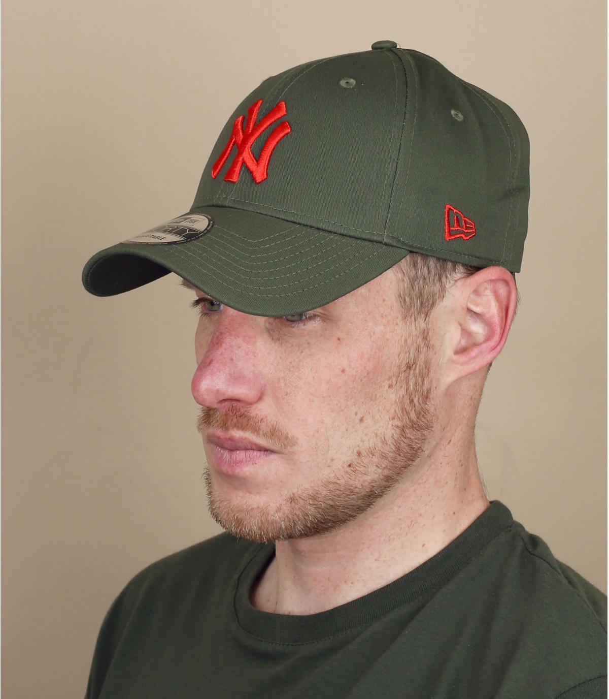 Cap NY grün rot