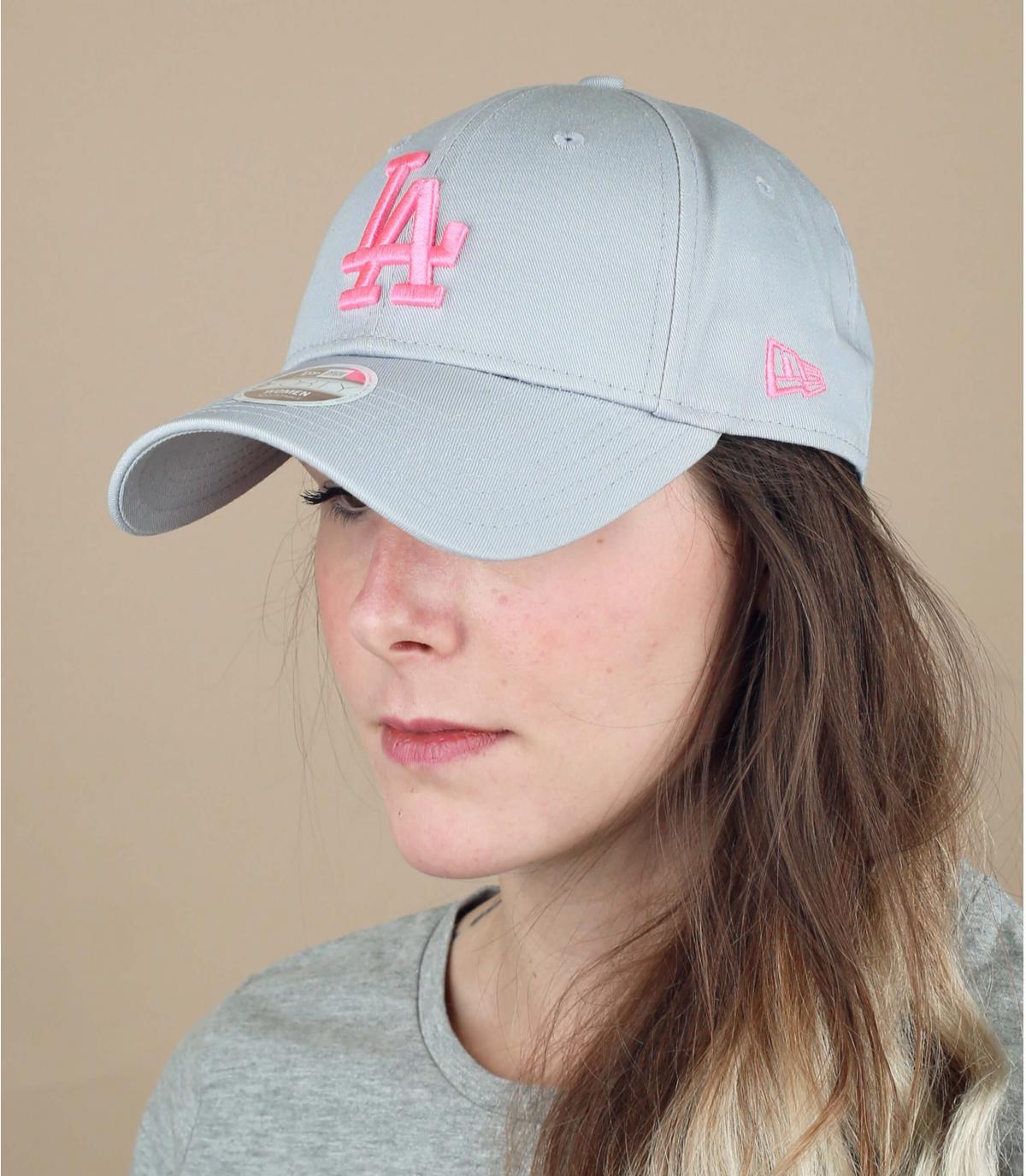 Damen Cap grau rosa LA