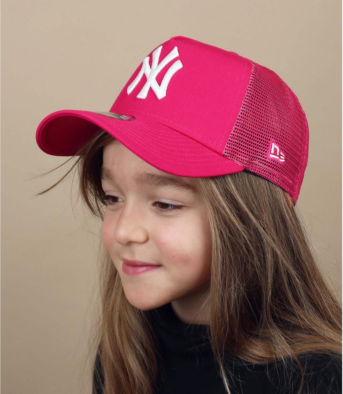 Kinder Trucker Cap NY rosa
