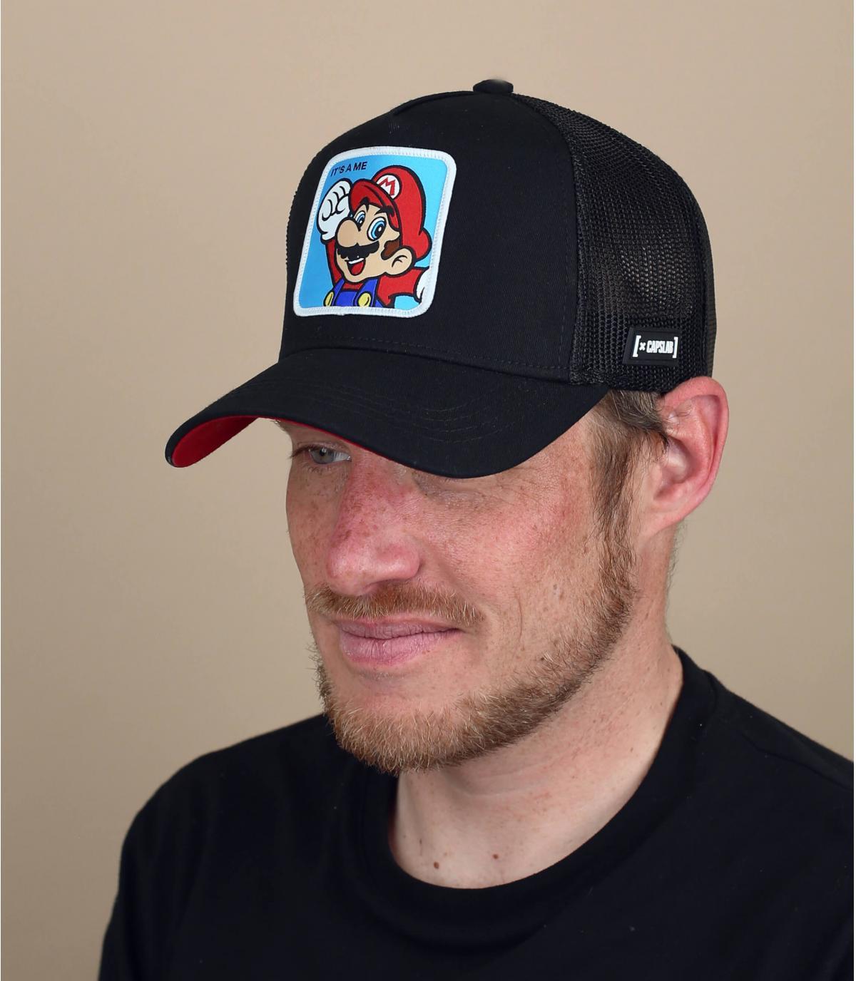 trucker Mario schwarz rot