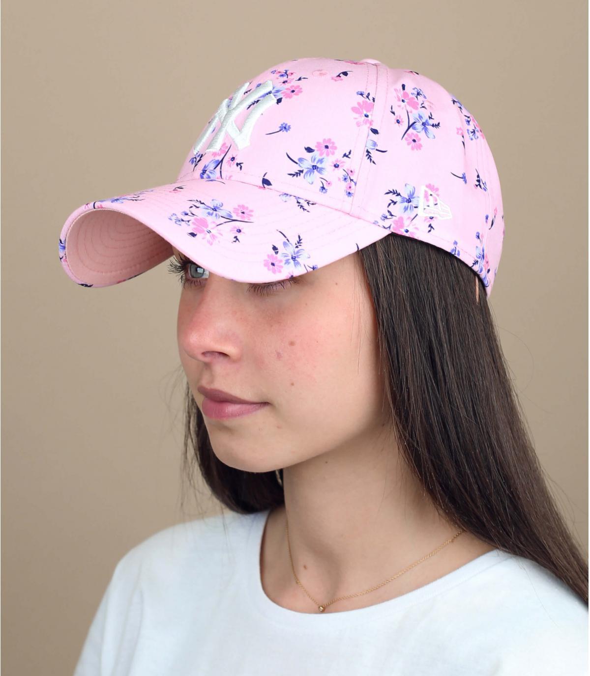 Damen Cap rosa Blumen