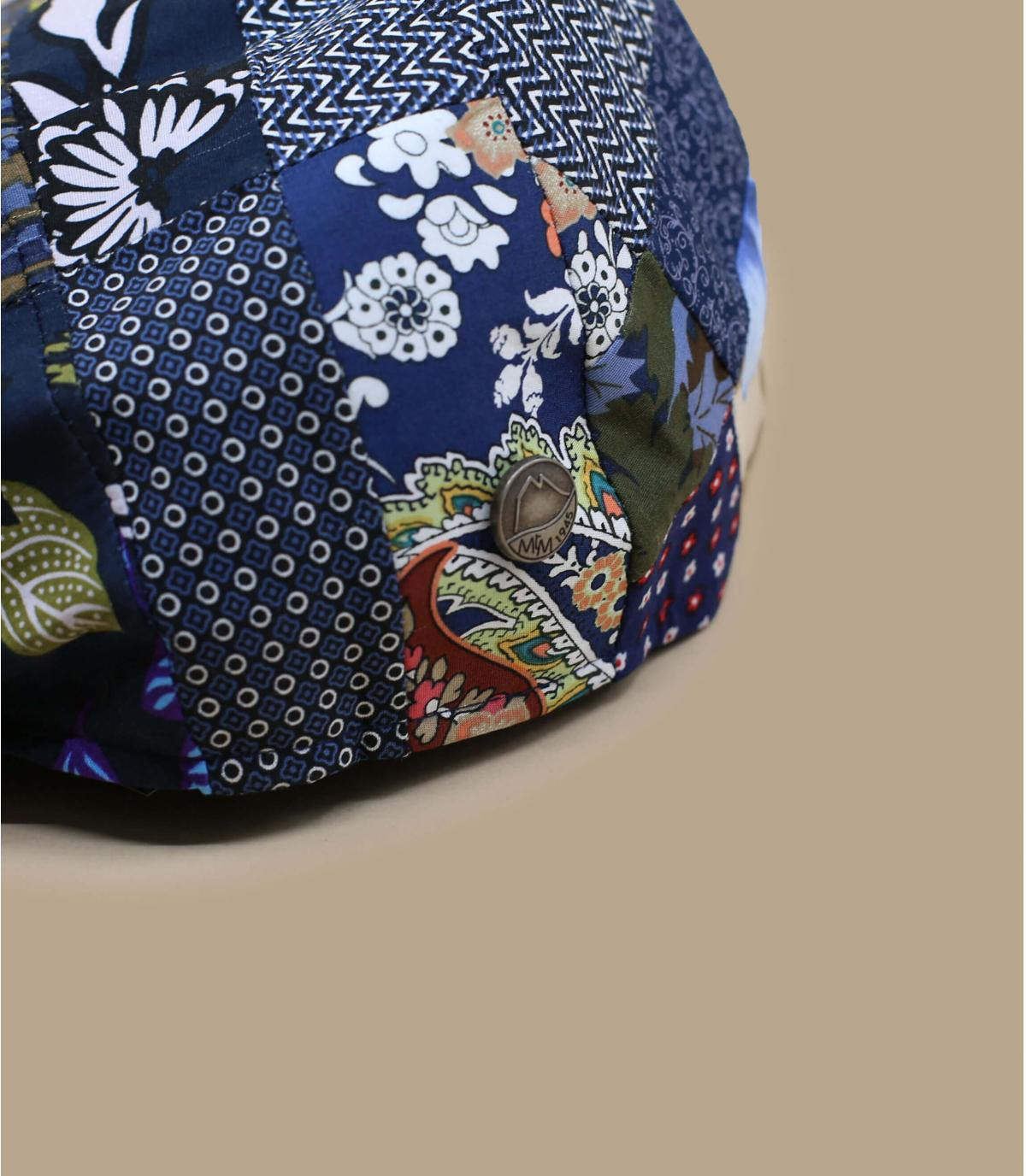 Flatcap Leinen Patchwork blau