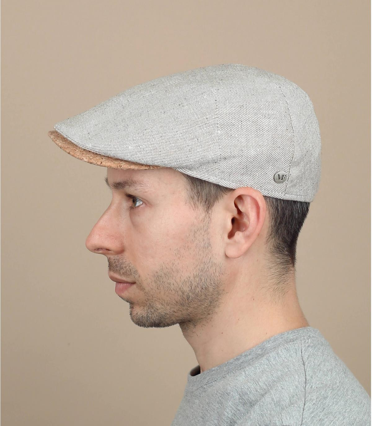 Flatcap beige Leinen