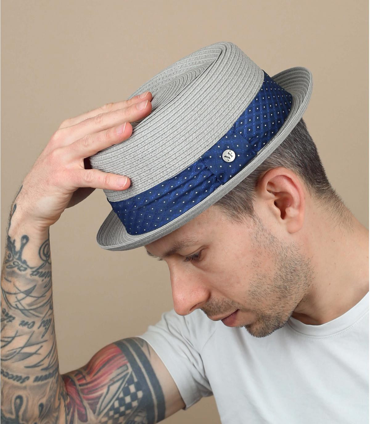 Strohhut grau Band blau