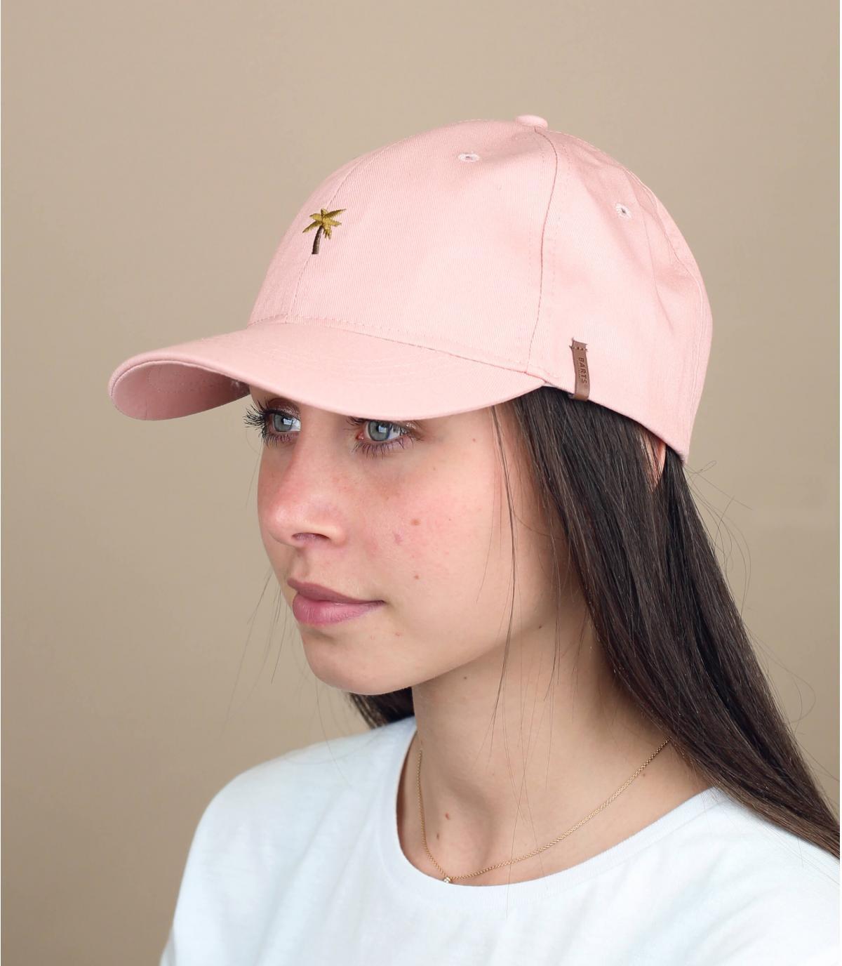 Cap rosa Palme Stickerei