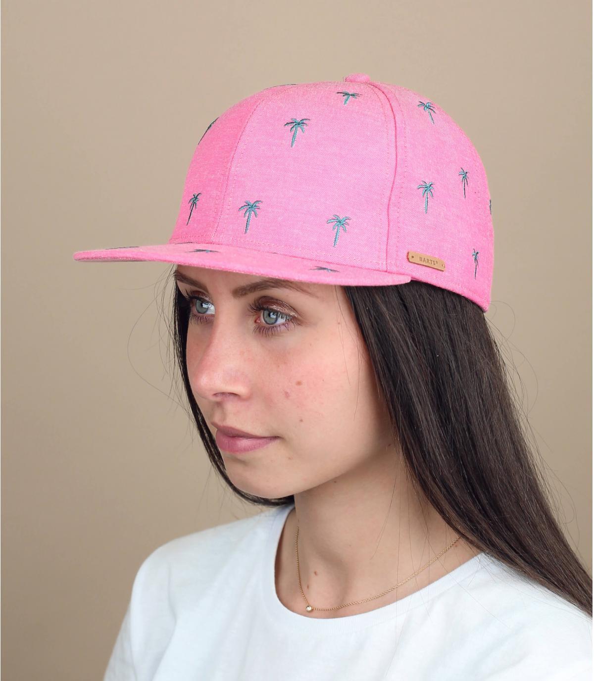Kinder Cap rosa Palmen