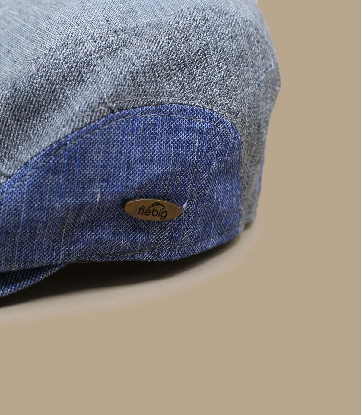 Schiebermütze Patchwork blau grau