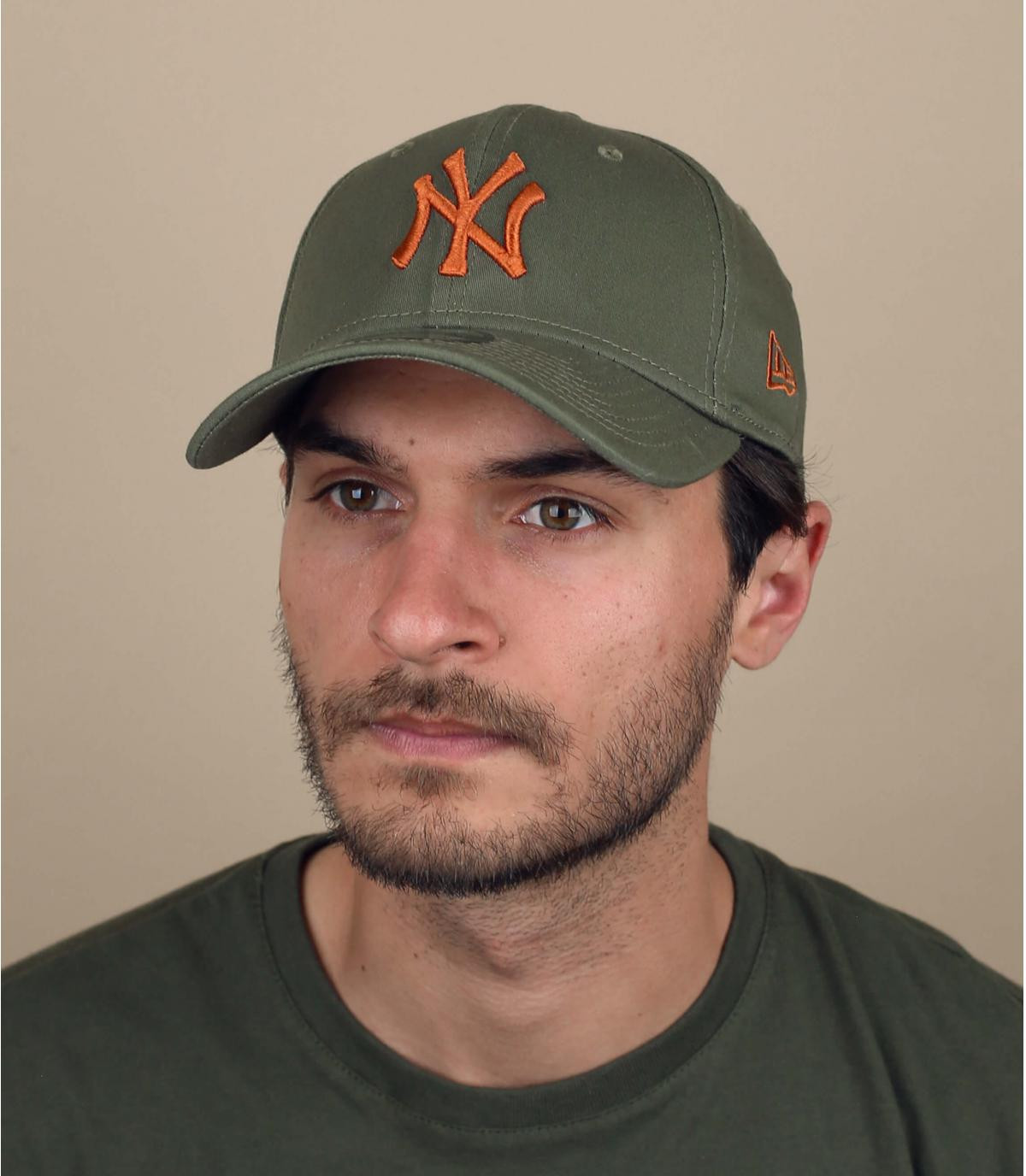 Cap stretch NY grün orange