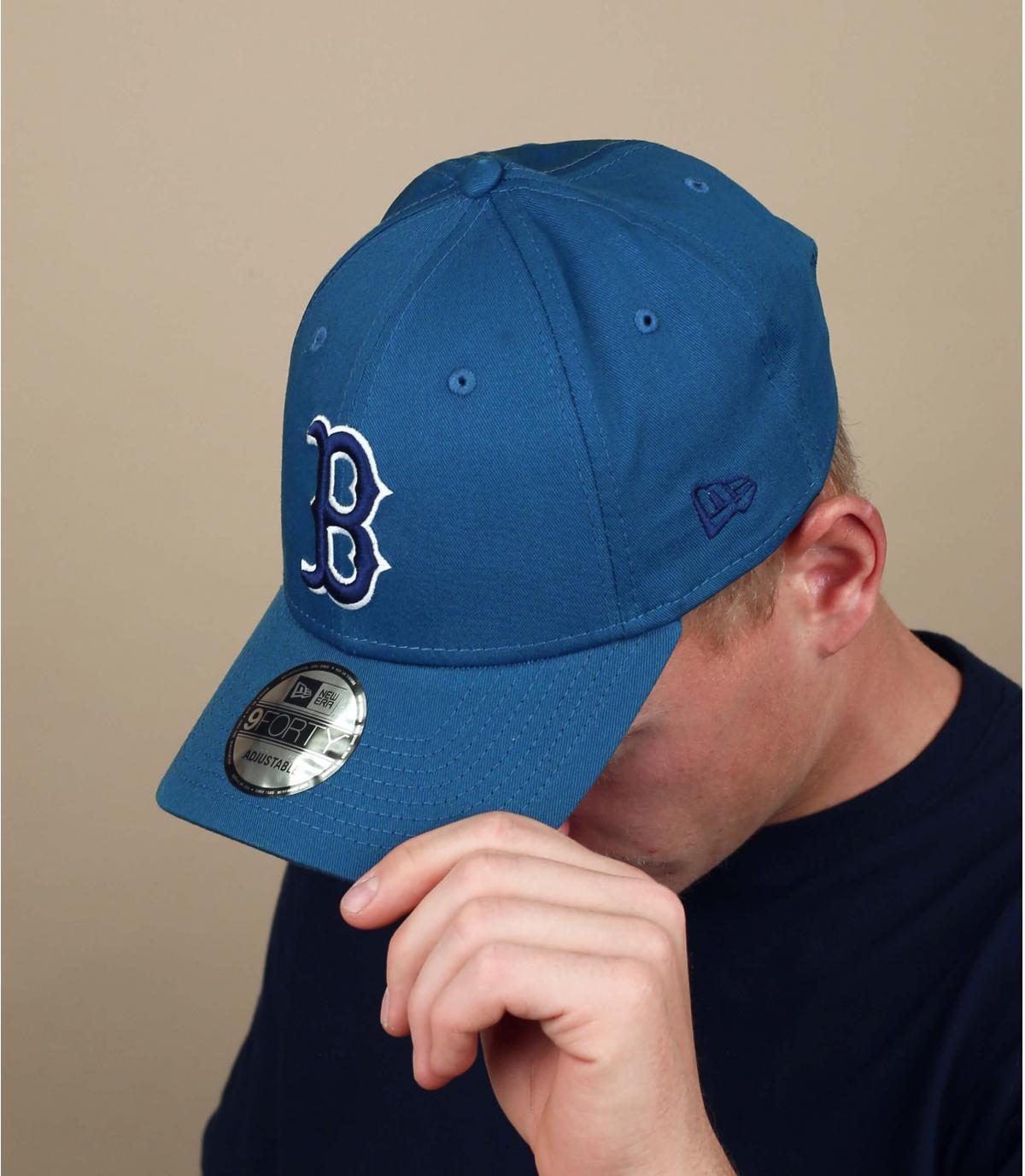 Cap B blau grau