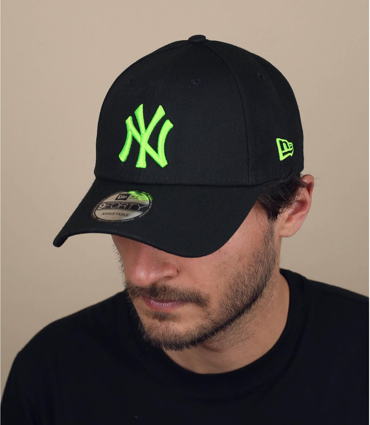 Cap NY schwarz neon grün