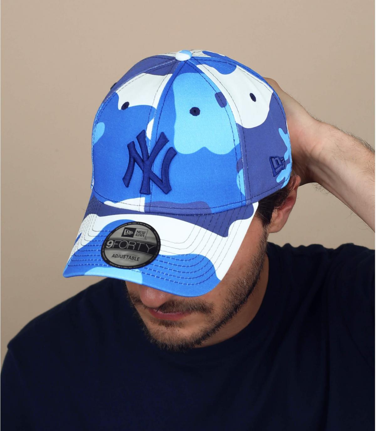 Cap NY camo blau