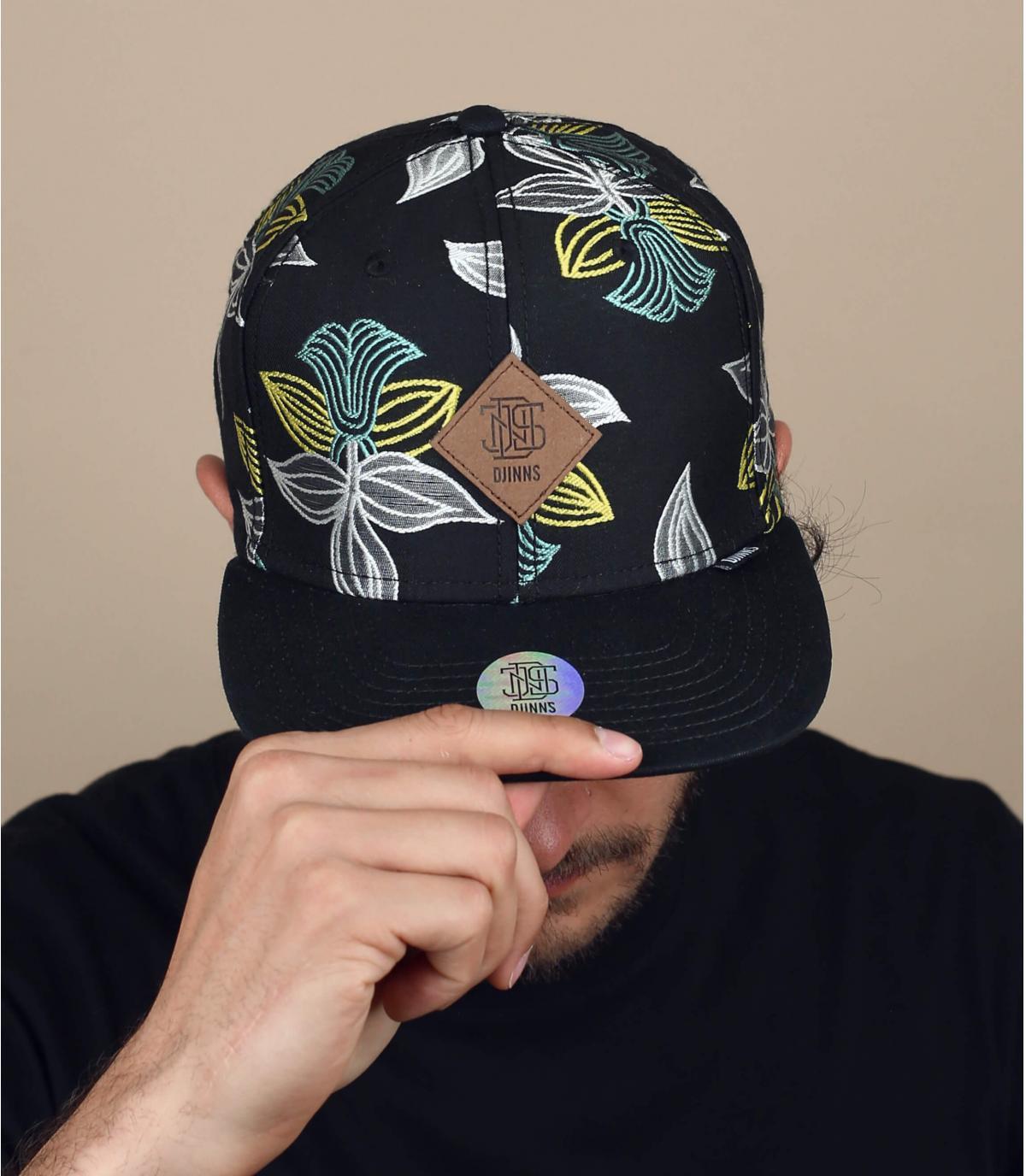 Cap schwarz Blumen Djinns