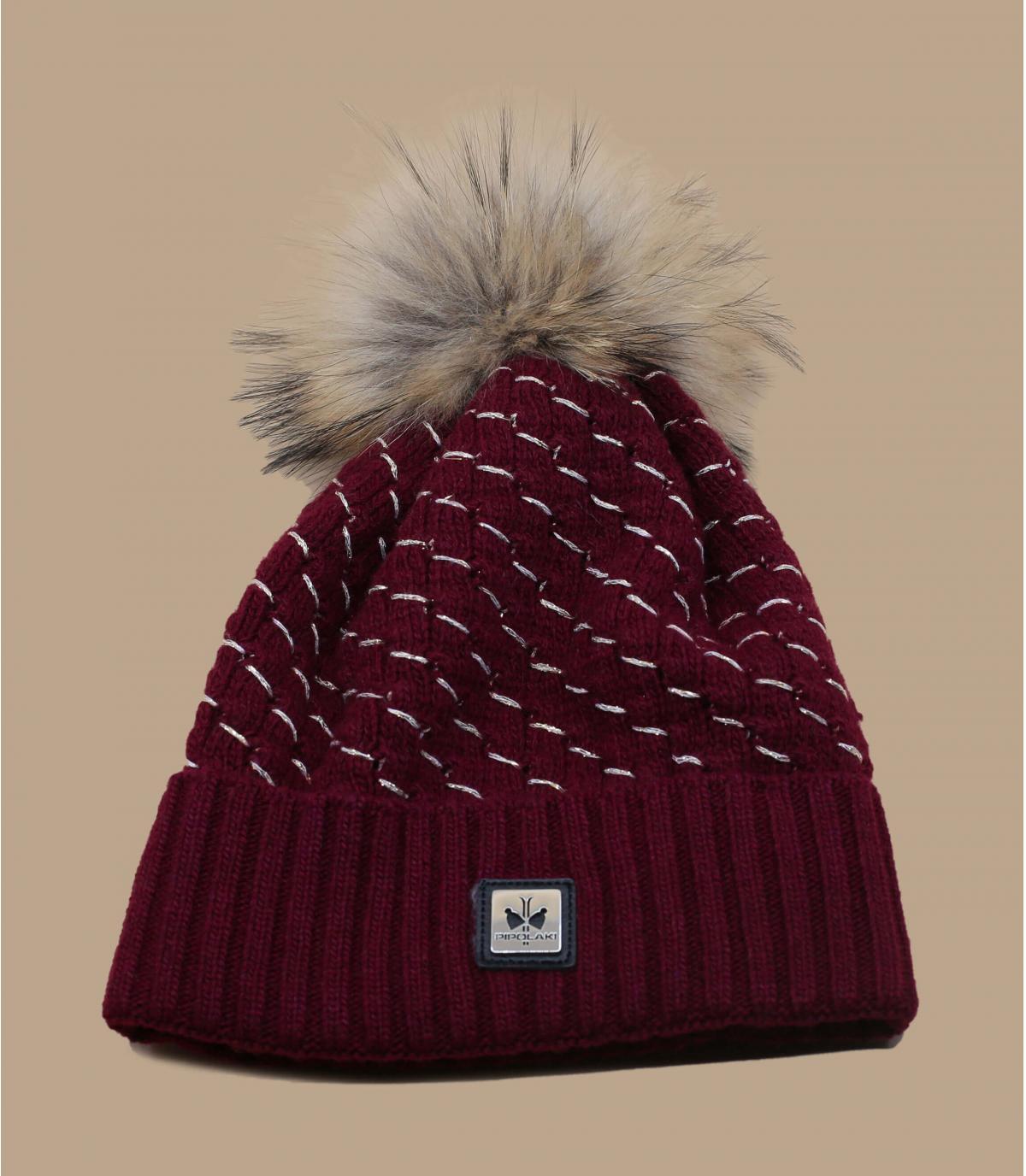 Mütze bordeaux Kaschmir Fell