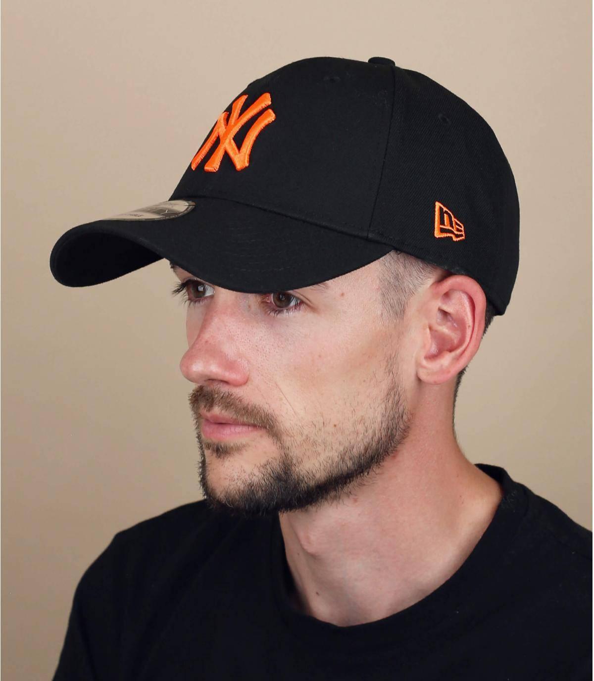 Cap NY schwarz orange