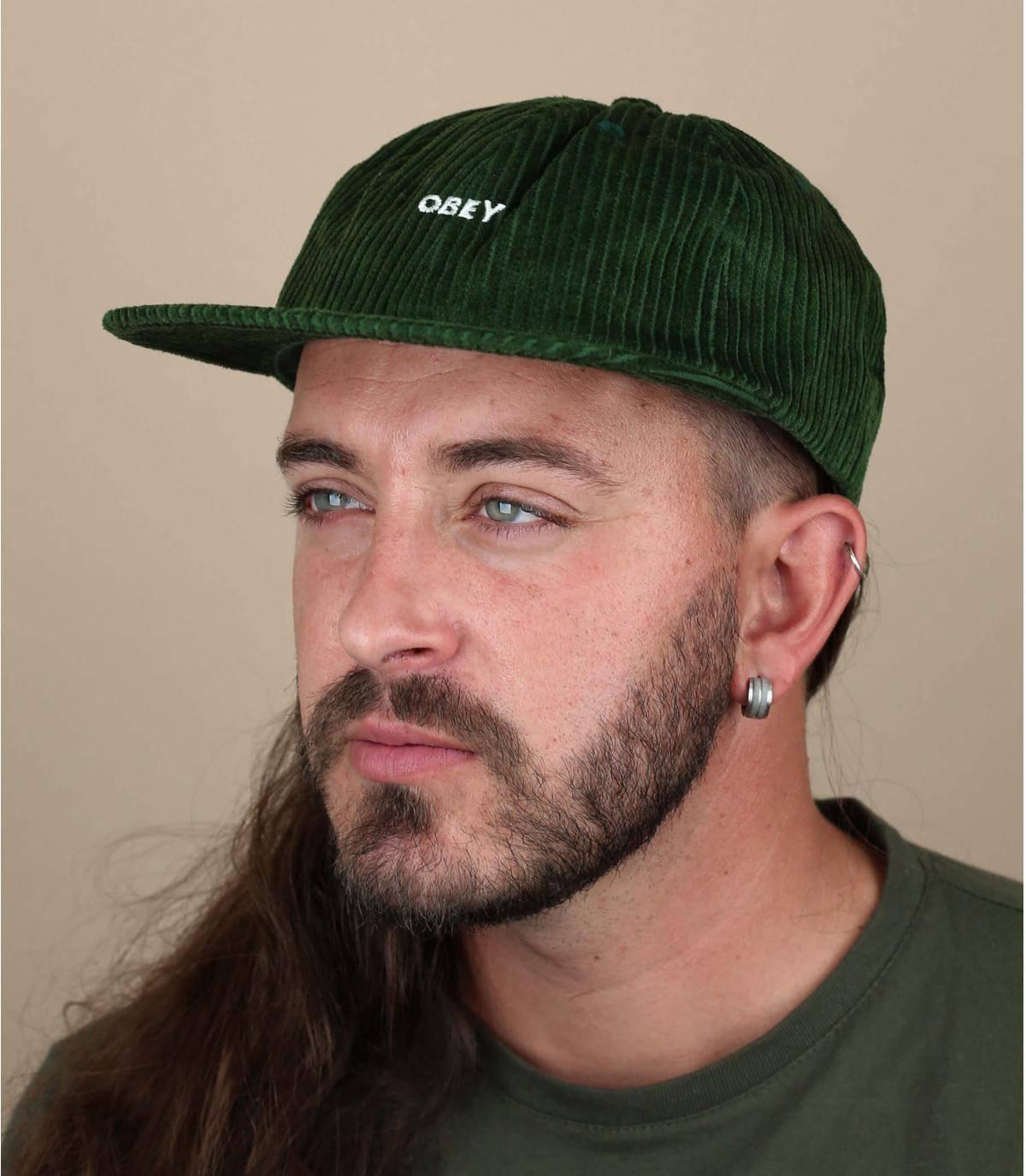Cap Obey Kordsamt grün
