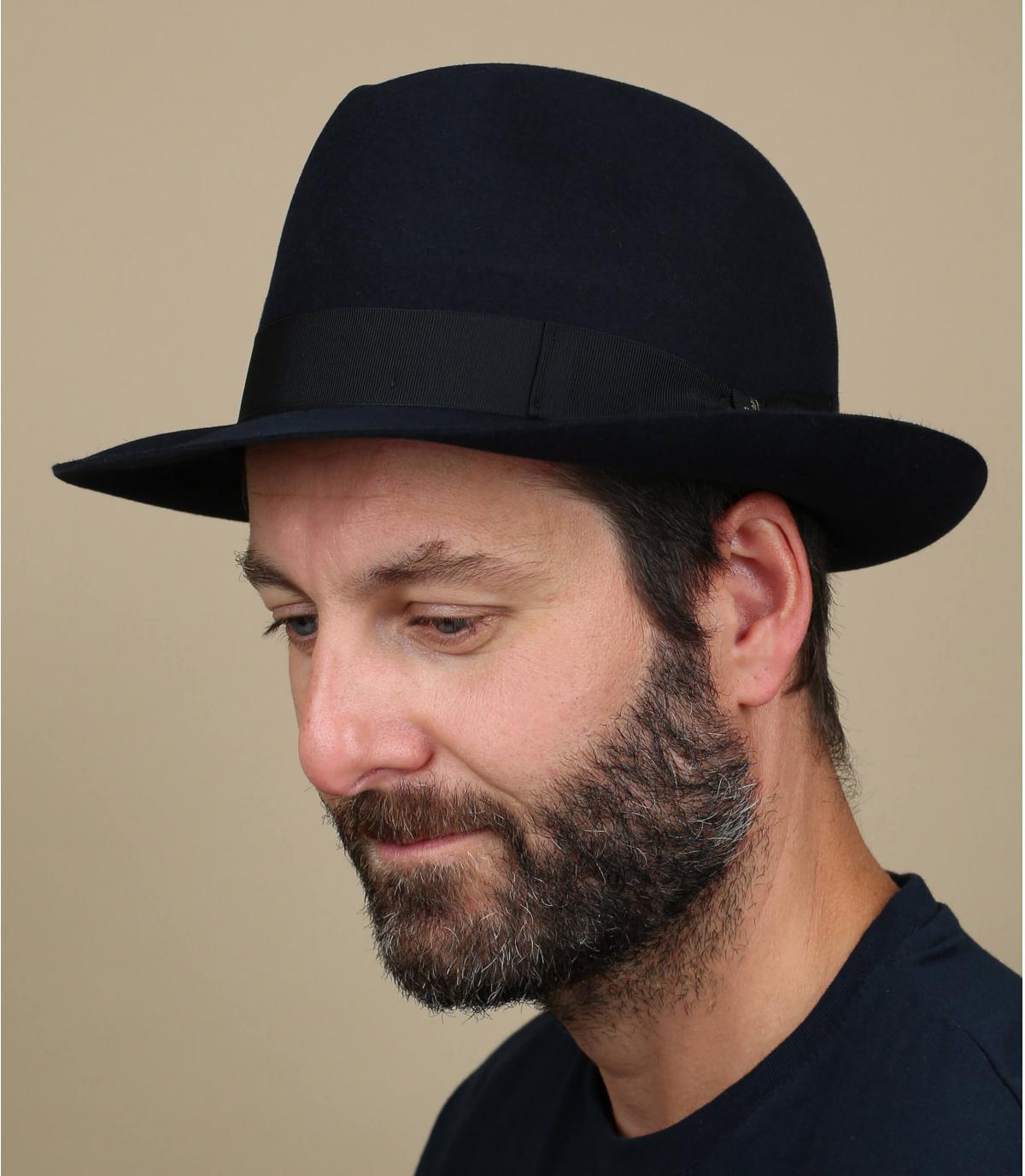 Navy fur felt Borsalino hat