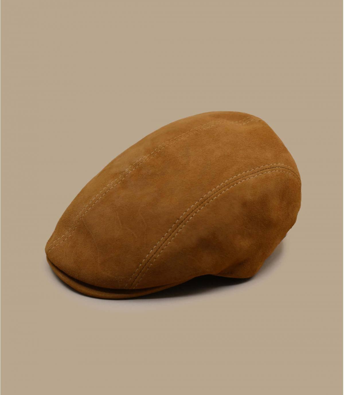 Flatcap Leder beige