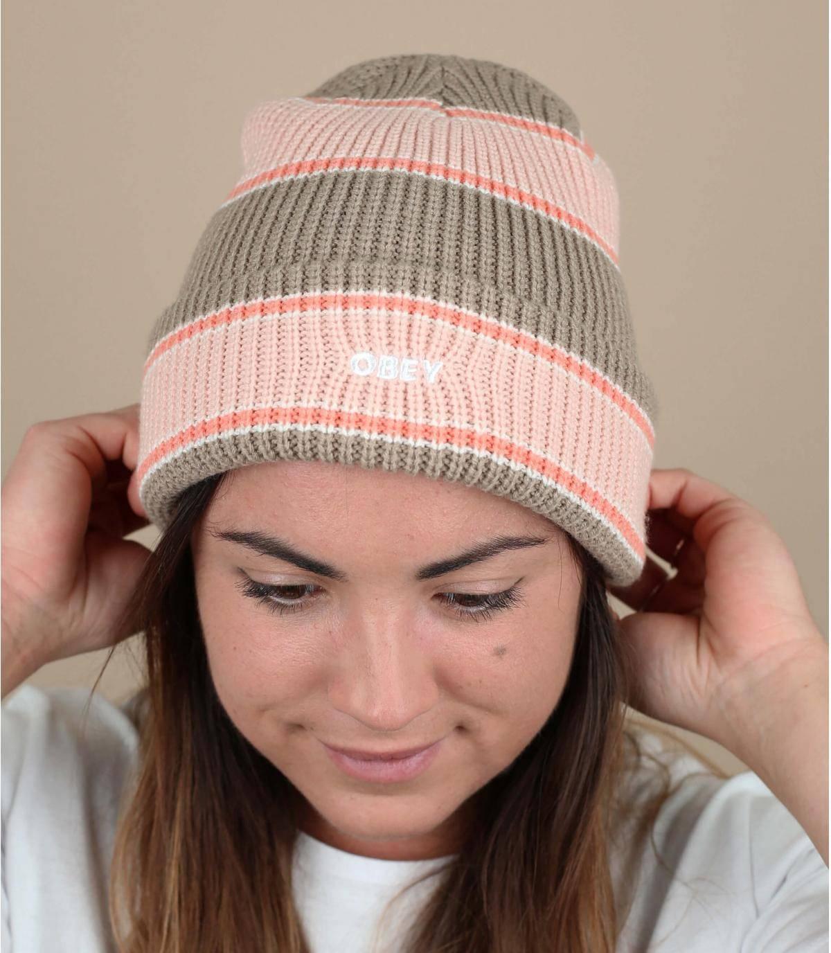 Mütze gestreift rosa