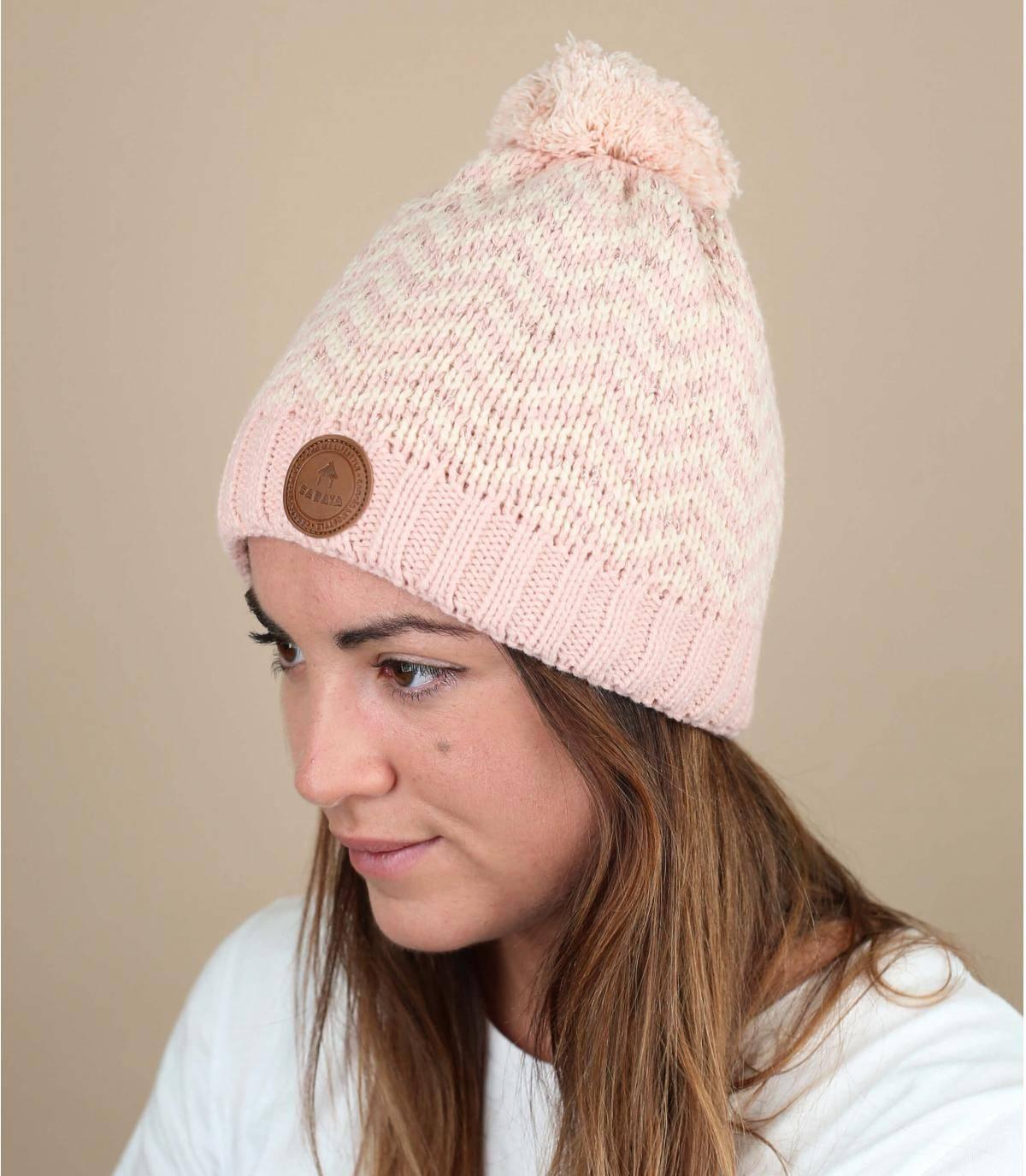 Mütze rosa Lurex