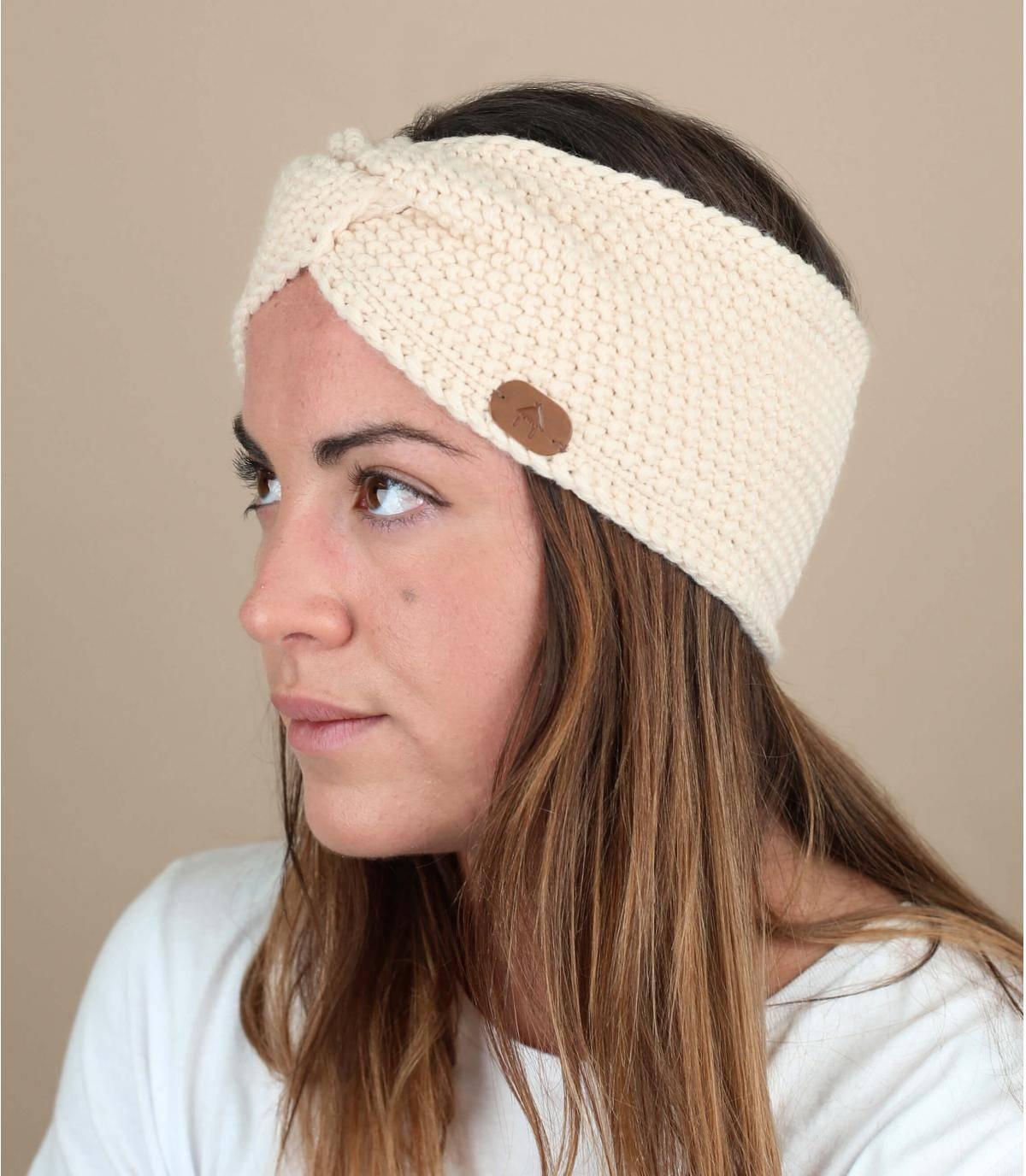 Getricktes Stirnband beige