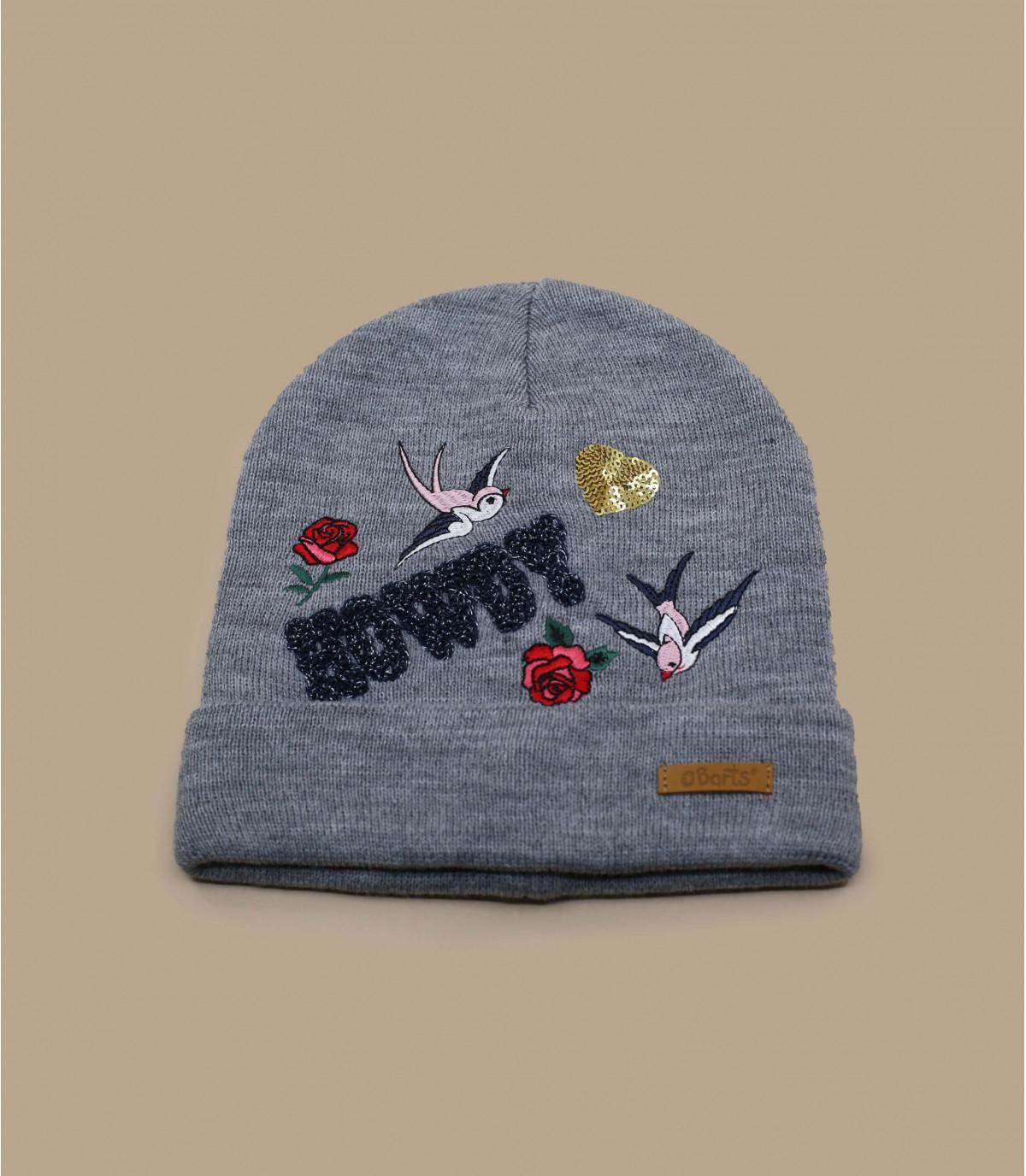 Kinder Mütze grau Stickerei