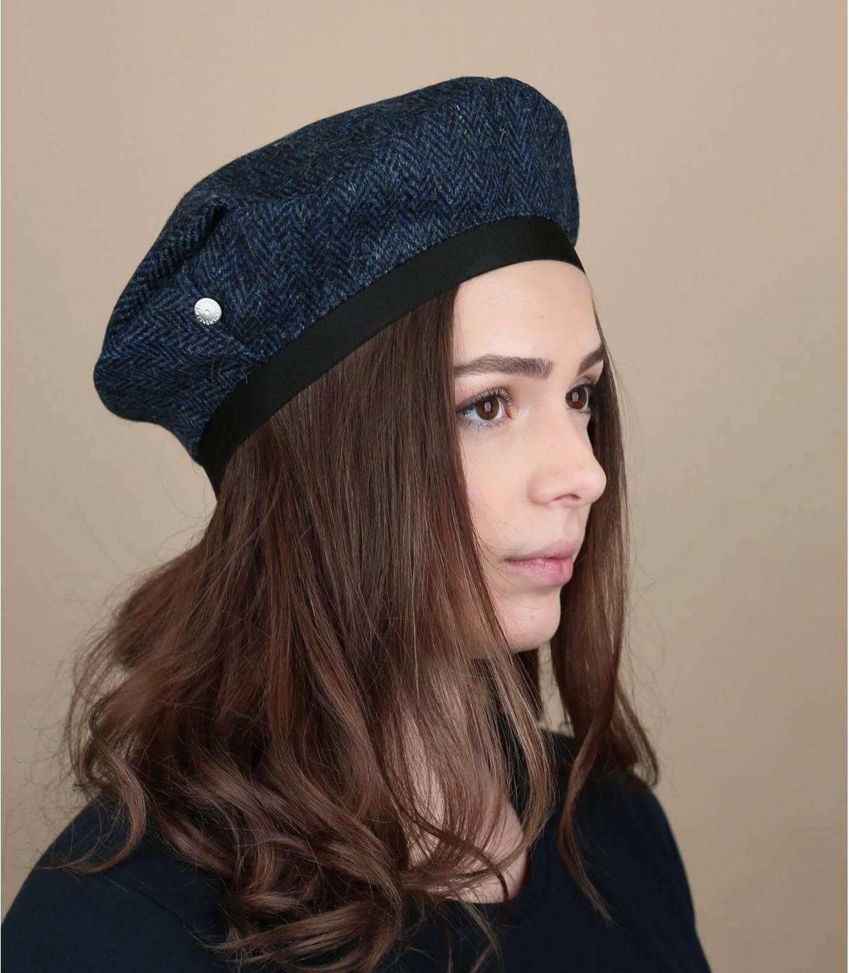 Baskenmütze Tweed blau