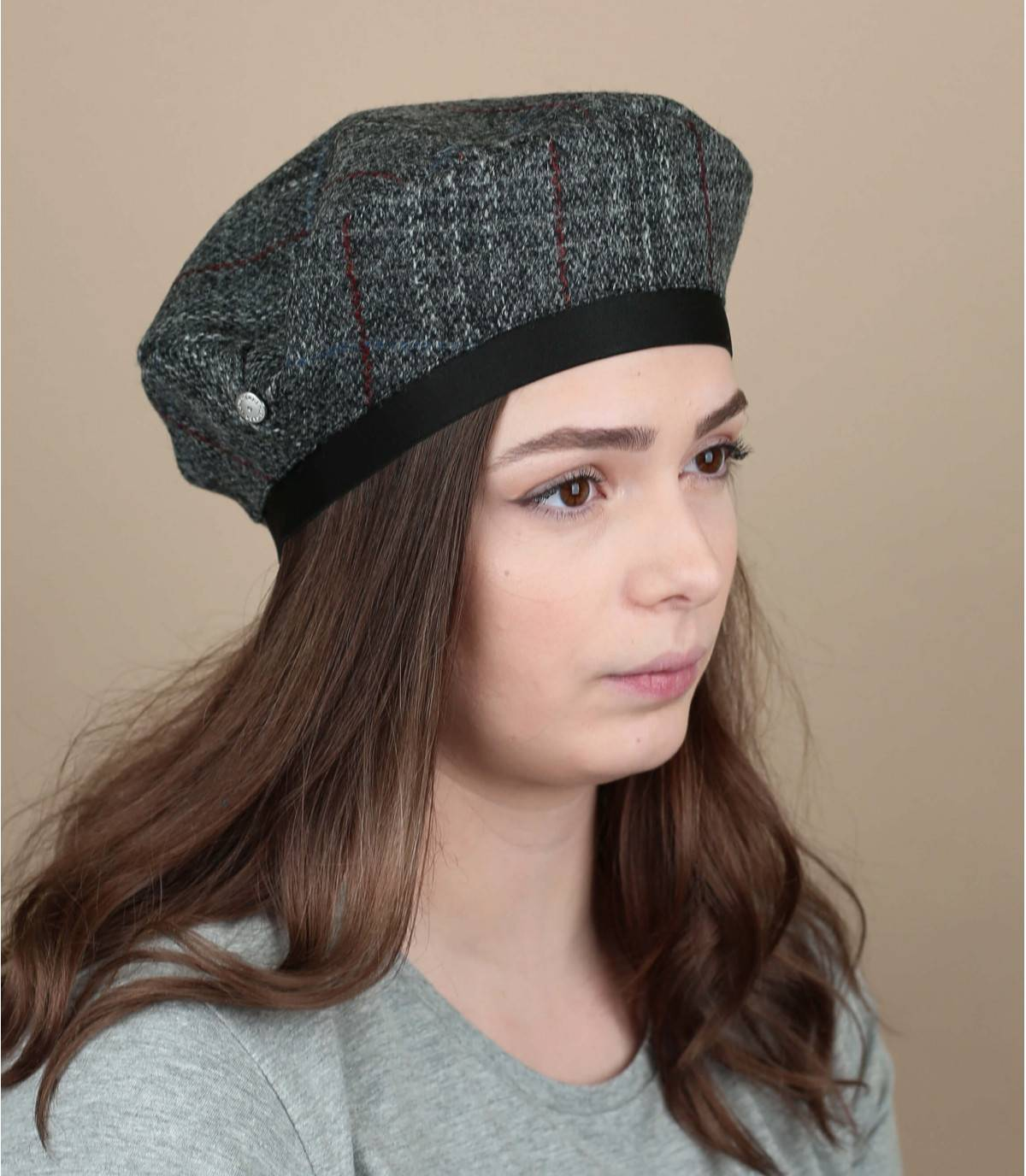Baskenmütze Tweed grau