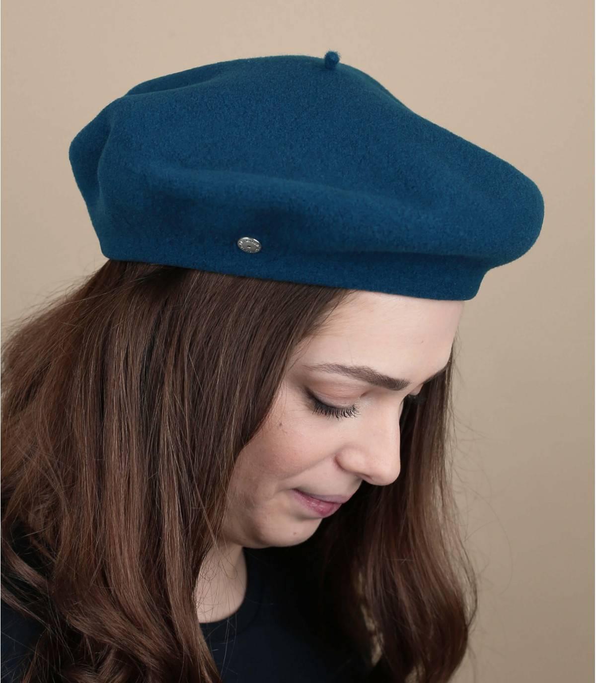 Baskenmütze Wolle blau